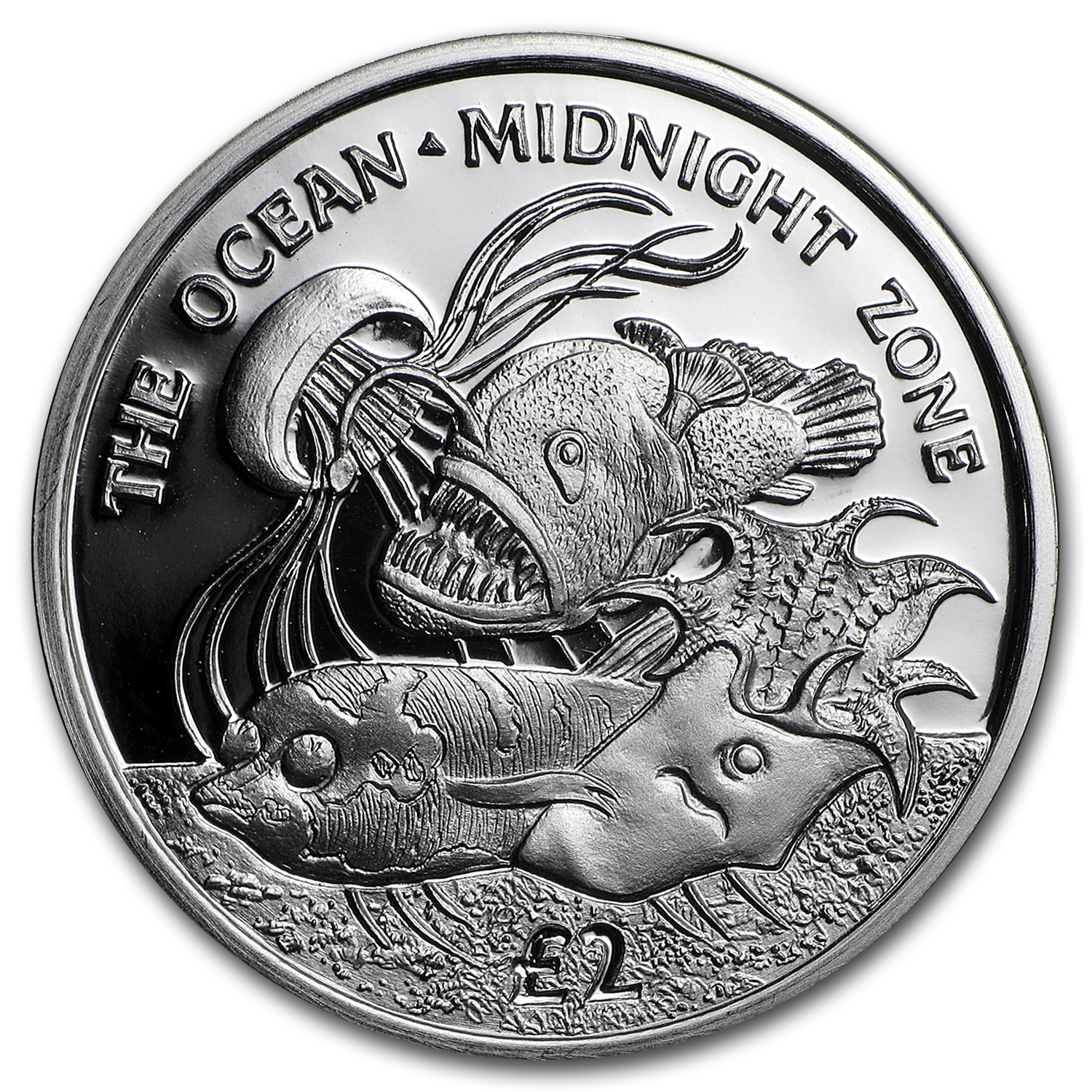 2016 BVI Silver £2 Ocean Zones: Midnight Proof