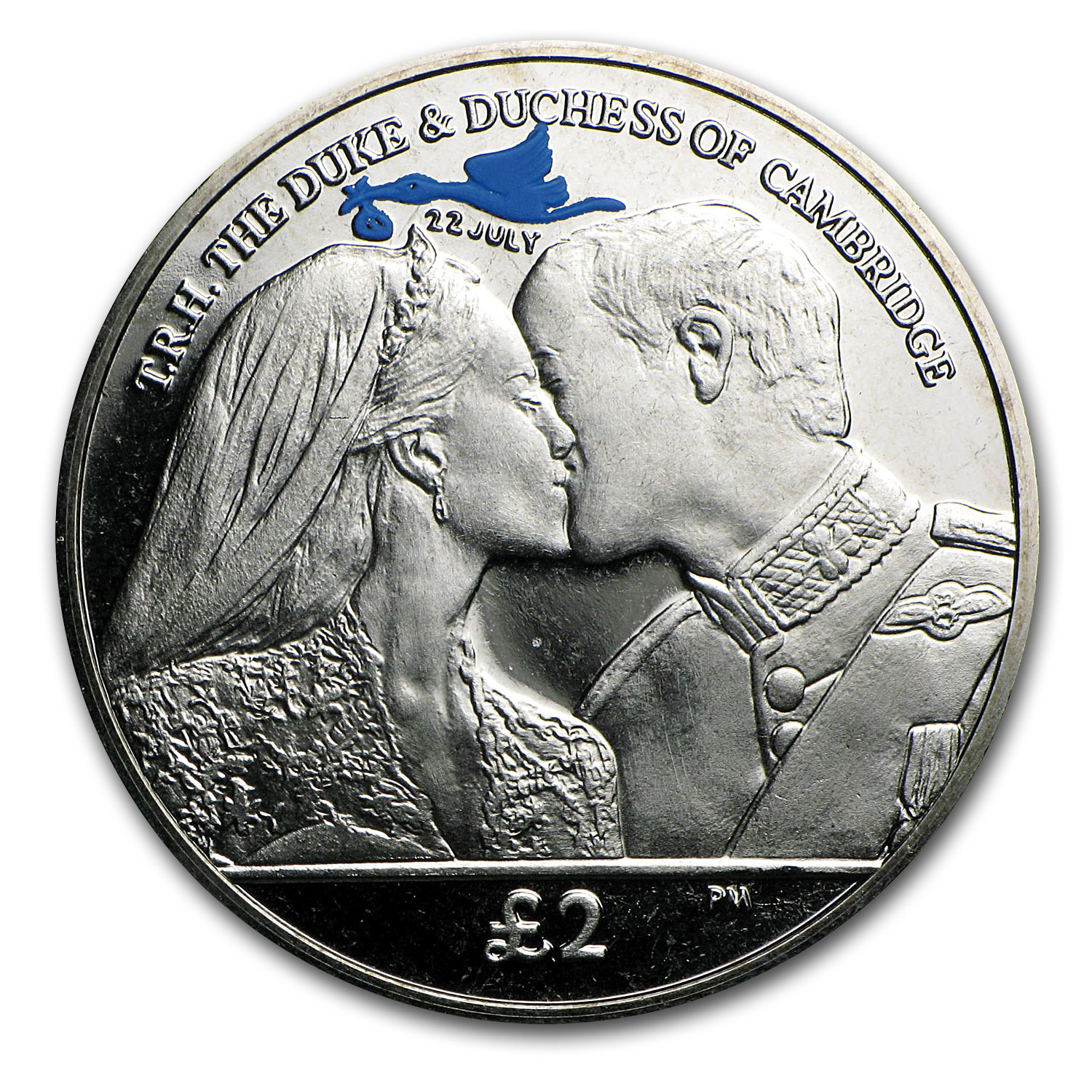 2013 South Georgia Cupro-Nickel £2 Royal Baby The Kiss Coin