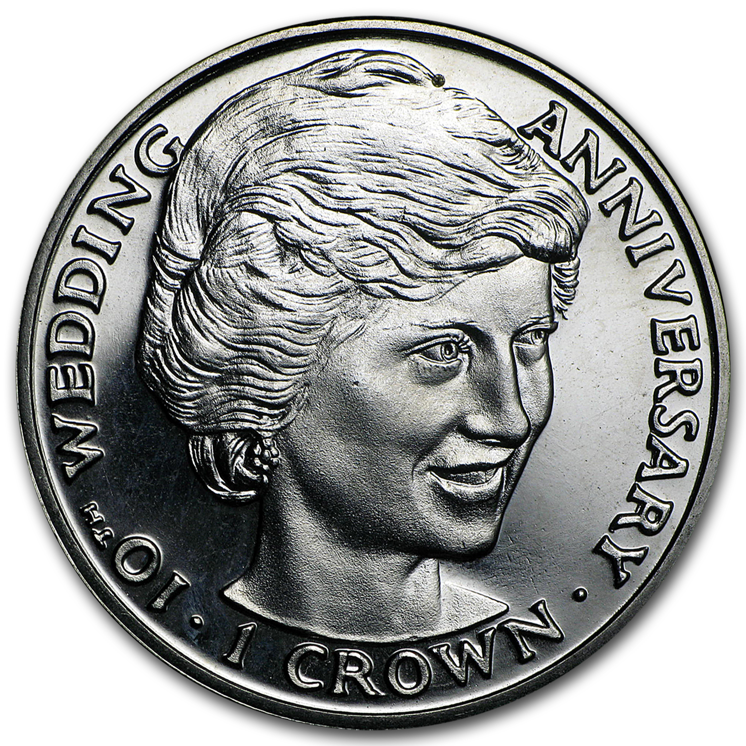 1991 Gibraltar Cupro-Nickel 1 Crown Diana 10th Wedding Anniv