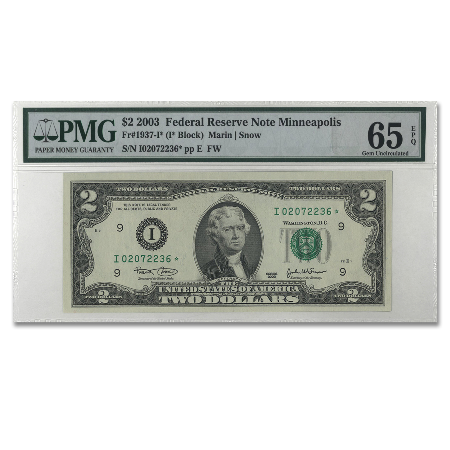 2003 (I-Minneapolis) $2.00 FRN Gem Unc-65 PMG EPQ (Star Note)