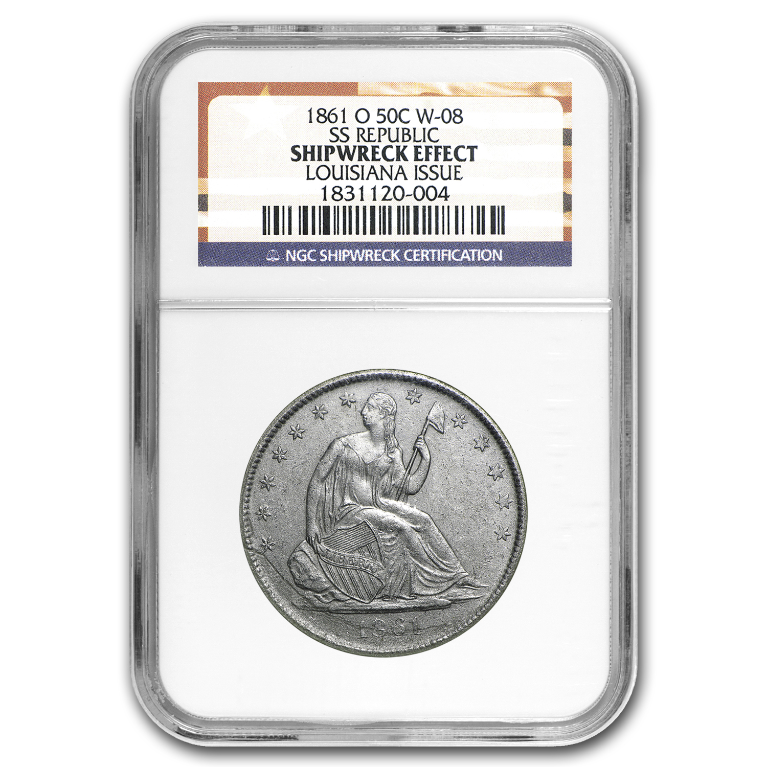 1861-O Liberty Seated Half Genuine NGC (SS-Republic Shipwreck)