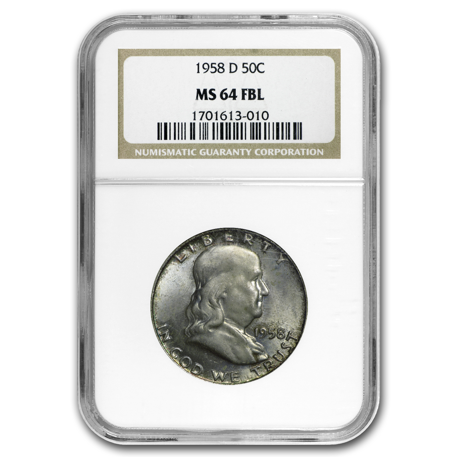 1958-D Franklin Half Dollar MS-64 NGC (FBL, Toned)