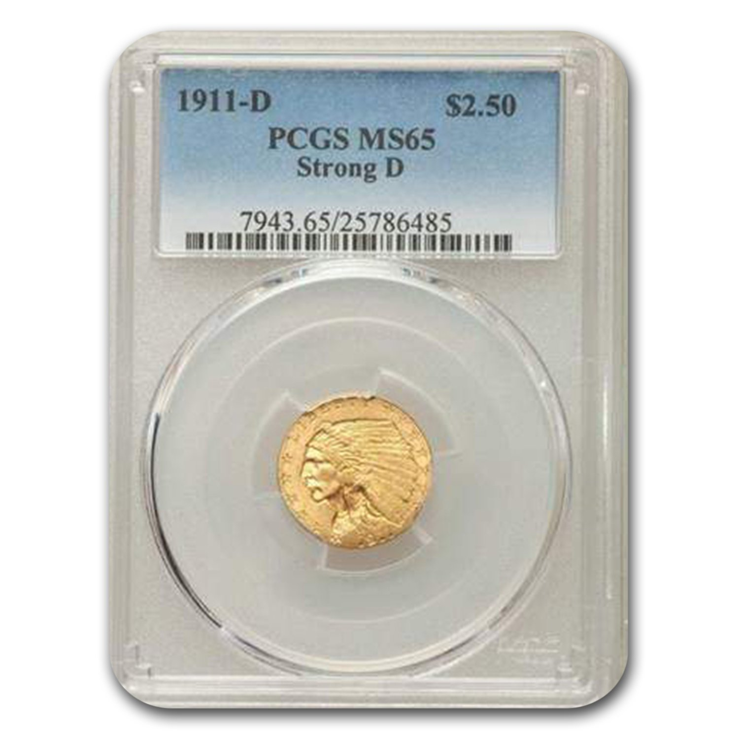 1911-D $2.50 Indian Gold Quarter Eagle MS-65 PCGS (Strong D)