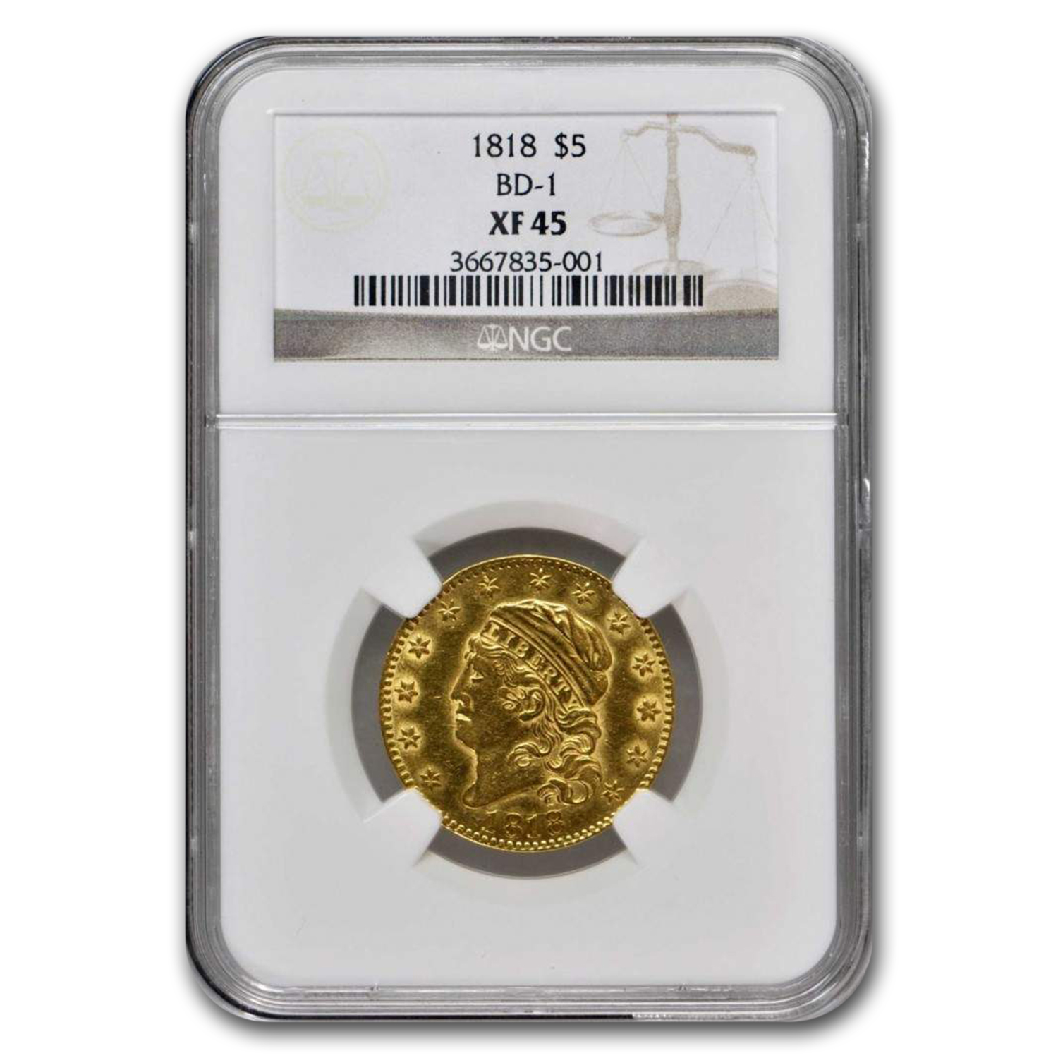 1818 Capped Head $5 Gold Half Eagle XF-45 NGC