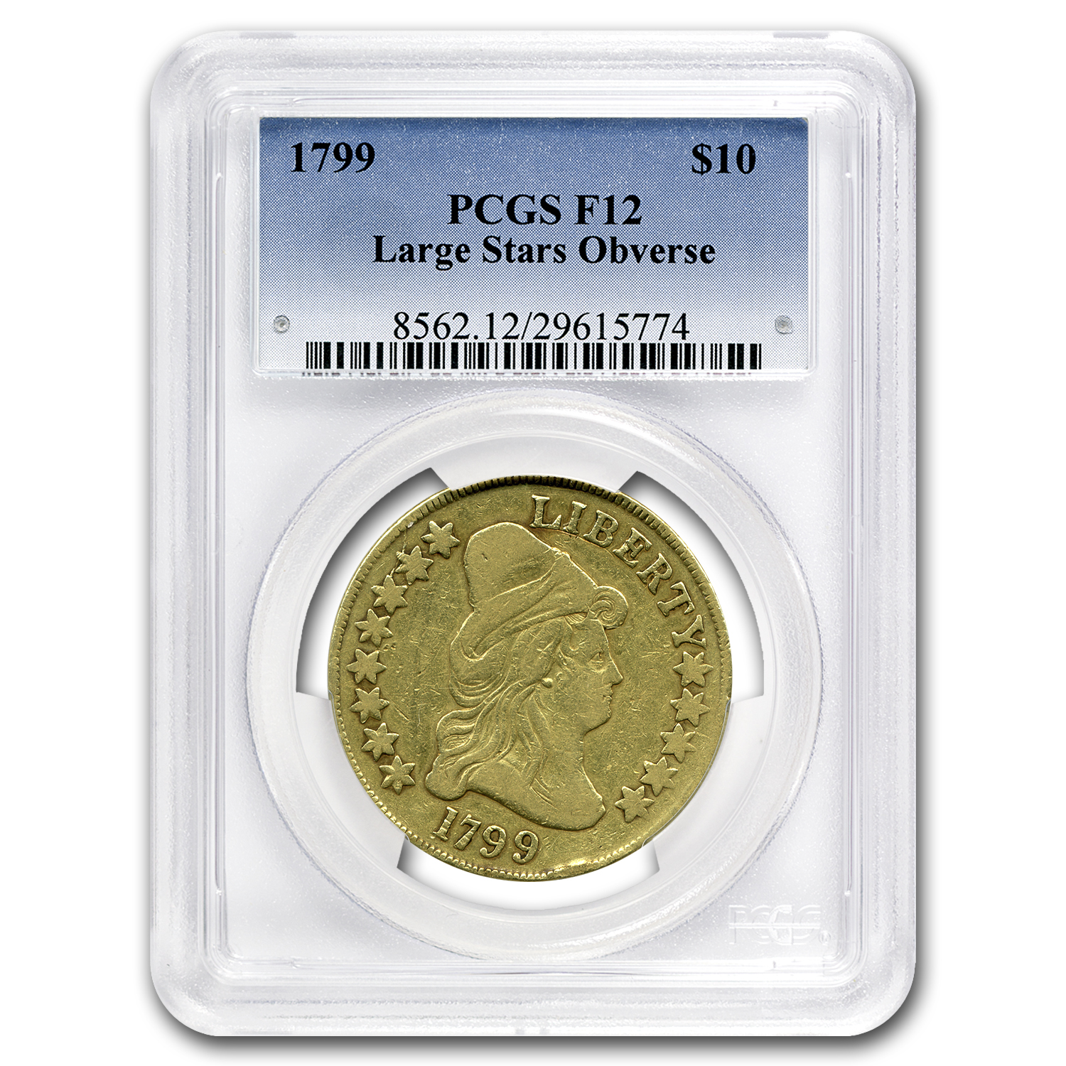 1799 $10 Turban Head Gold Eagle F-12 PCGS (Large Stars)