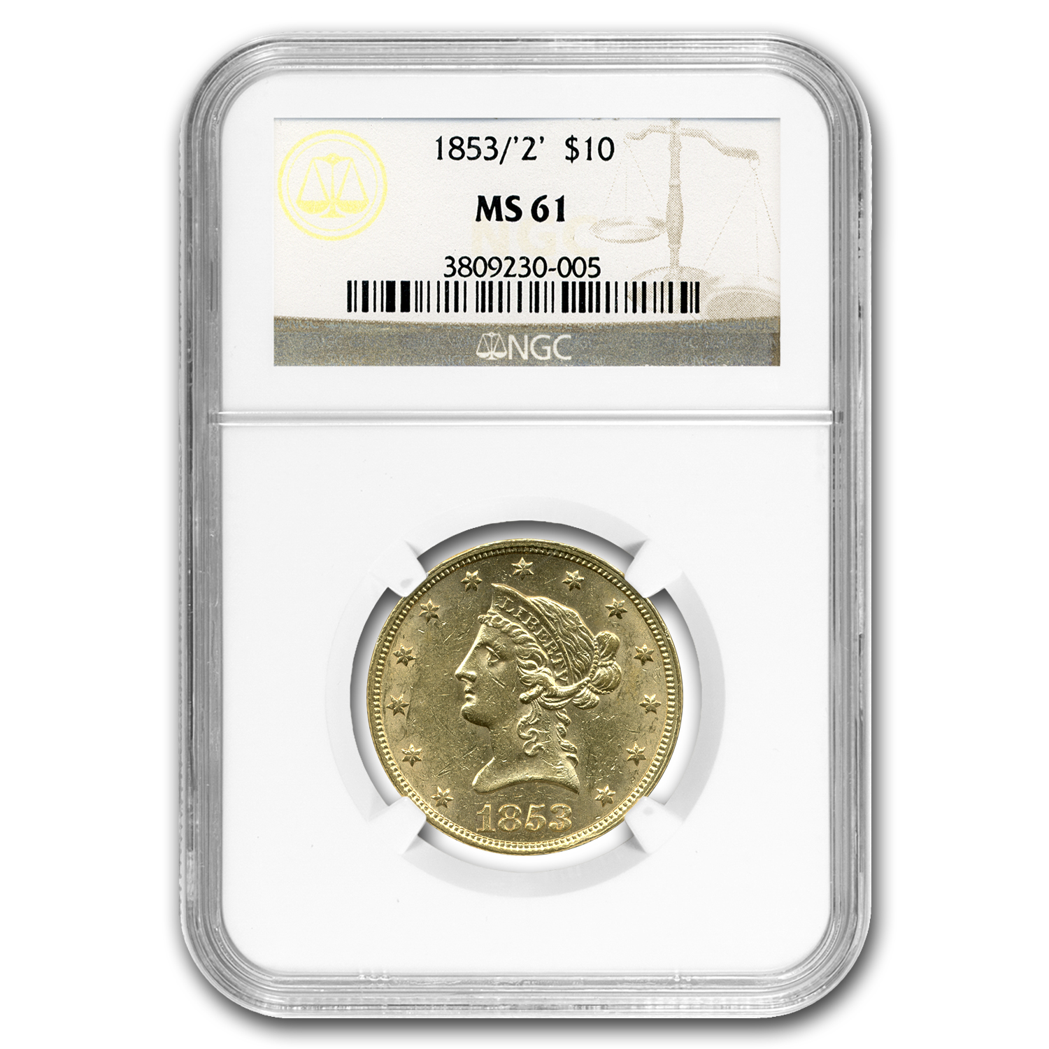 1853/2 $10 Liberty Gold Eagle MS-61 NGC