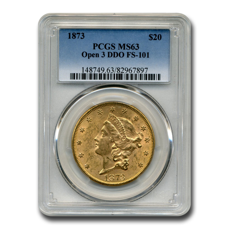 1873 $20 Liberty Gold Eagle MS-63 PCGS (Open 3, DDO, FS-101)