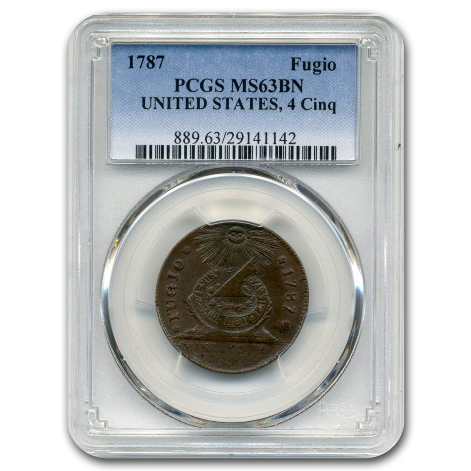 1787 Fugio Cent MS-63 PCGS (Brown)