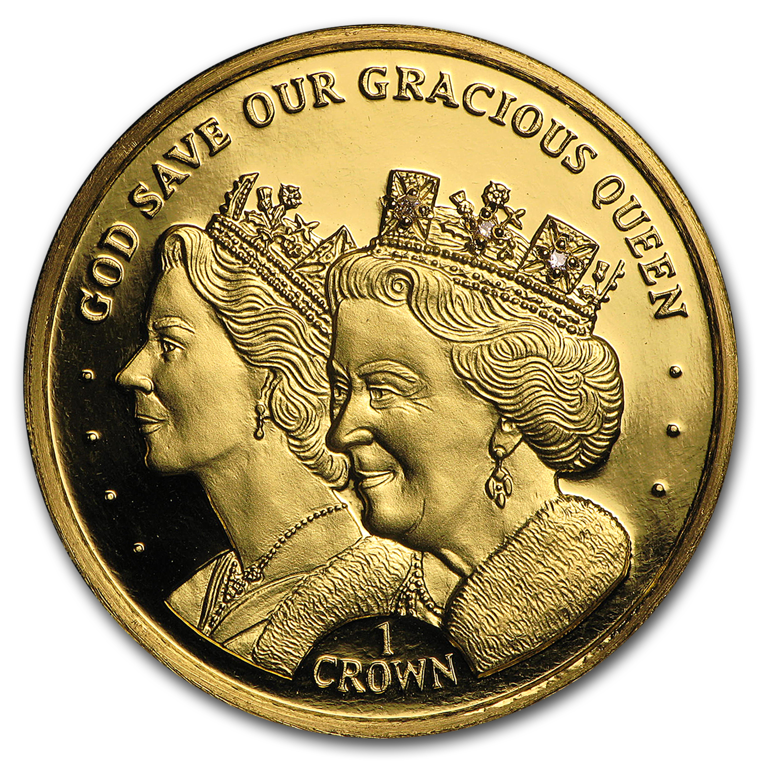 2016 ASC Gold 1 Crown Queen Elizabeth II 90th Birthday w/Diamonds