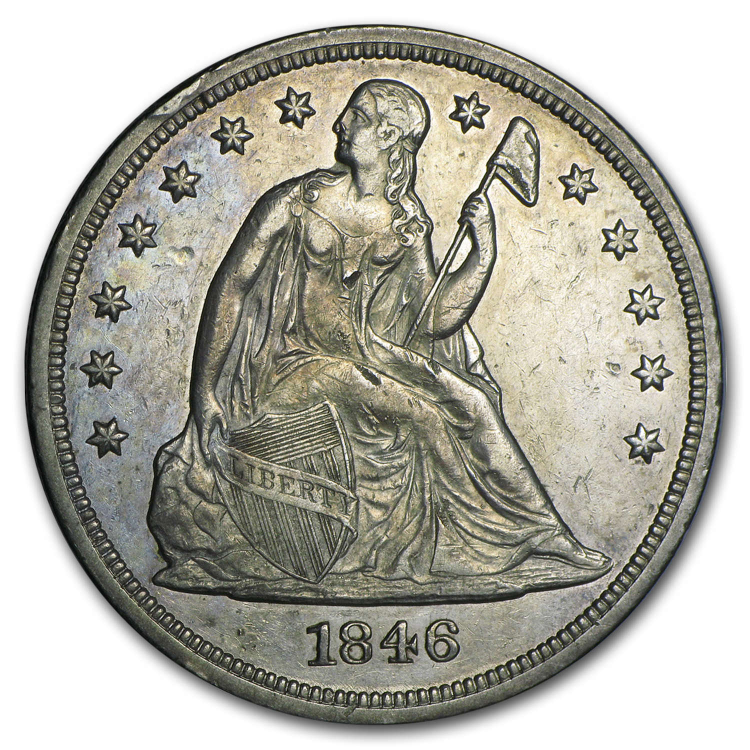 1846 Liberty Seated Dollar AU Details (Cleaned)