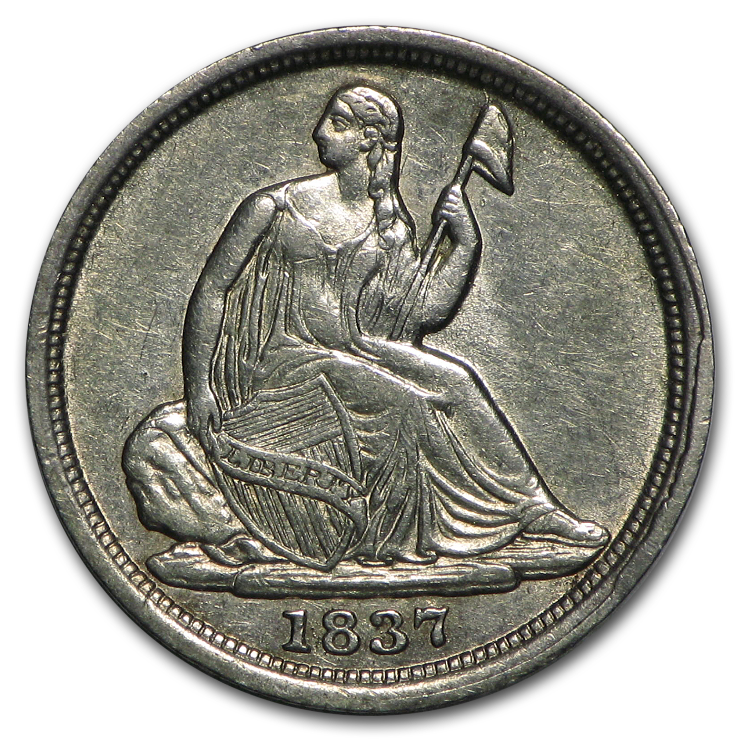 1837 Liberty Seated Half Dime Small Date/No Stars AU