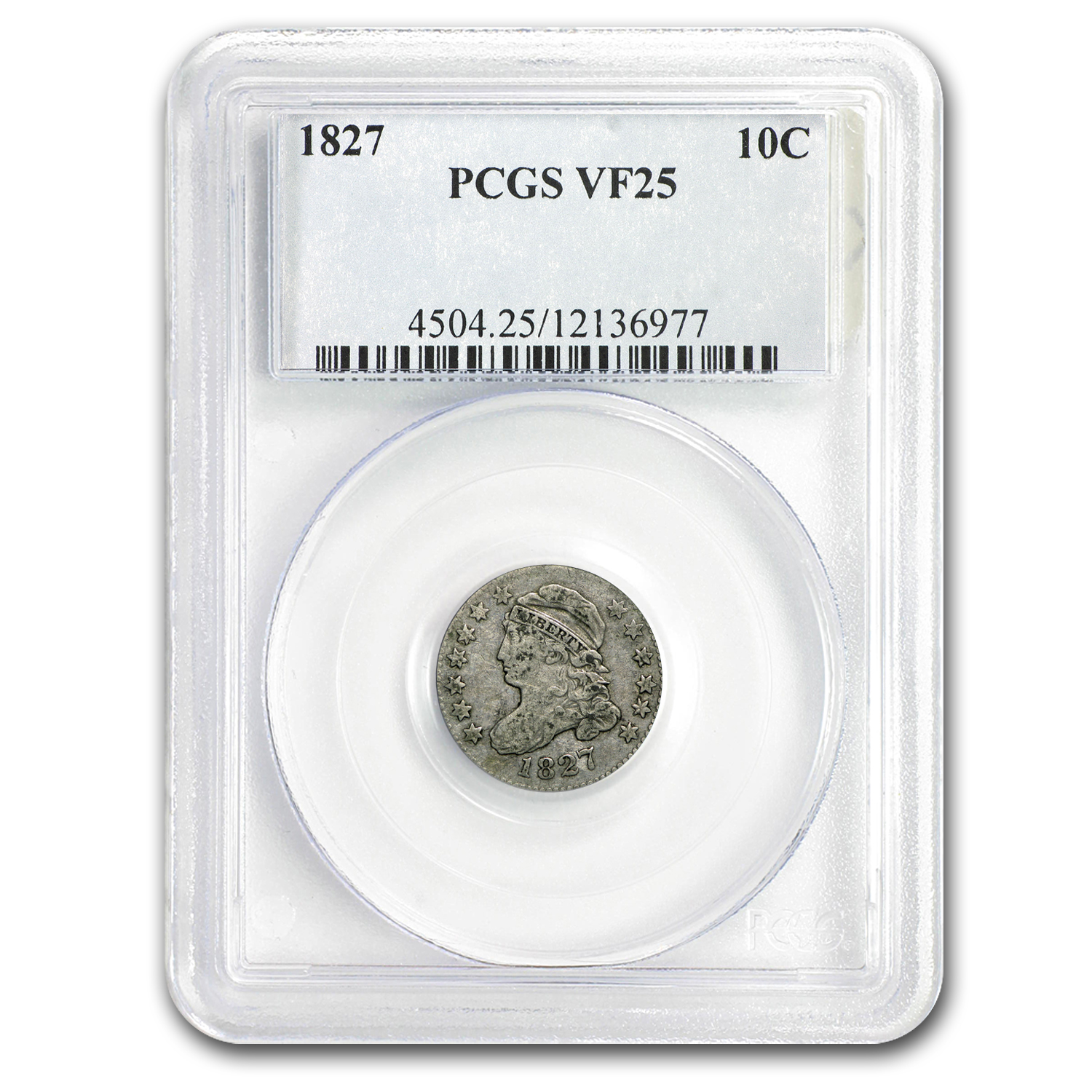 1827 Capped Bust Dime VF-25 PCGS