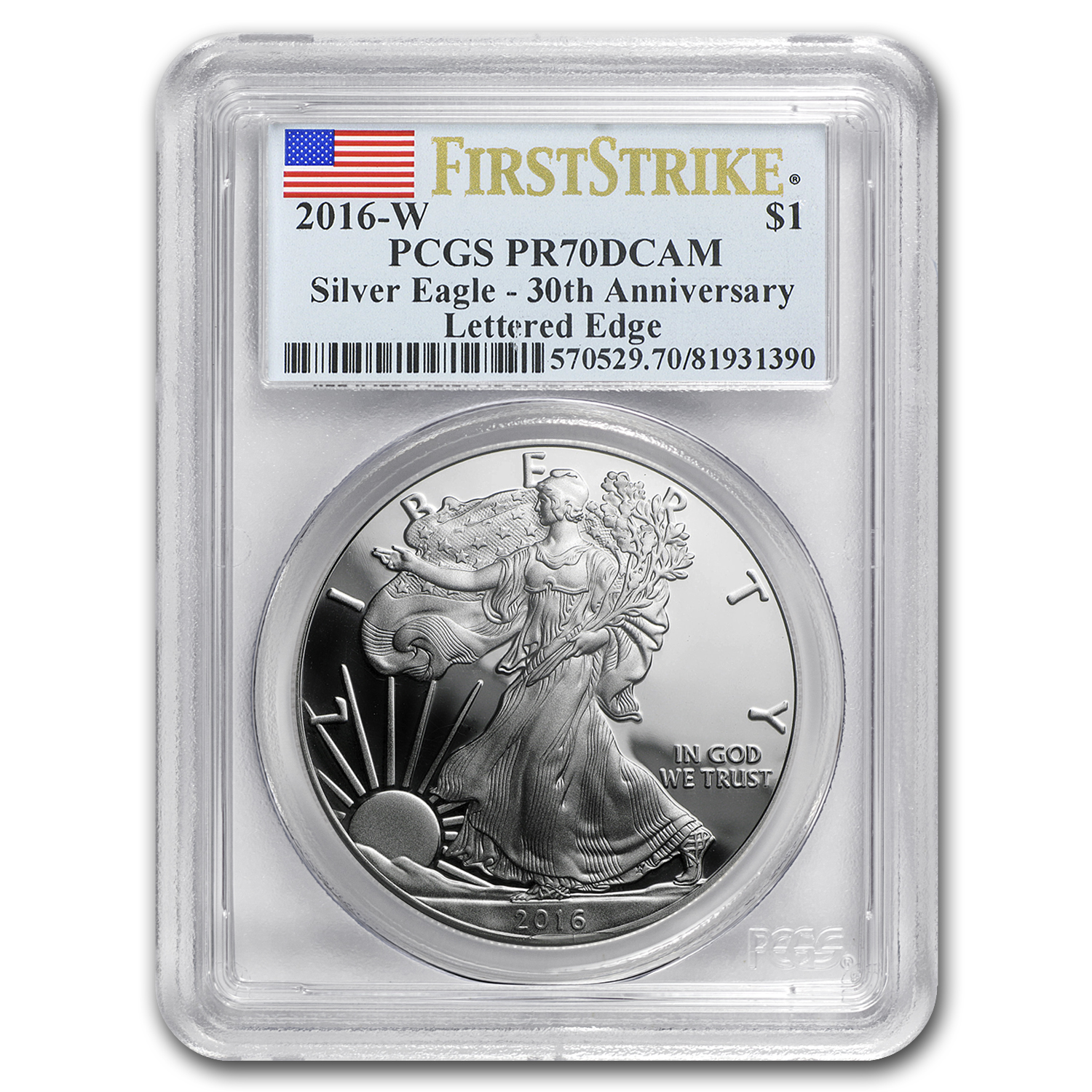 2016-W Proof Silver American Eagle PR-70 PCGS (First Strike)