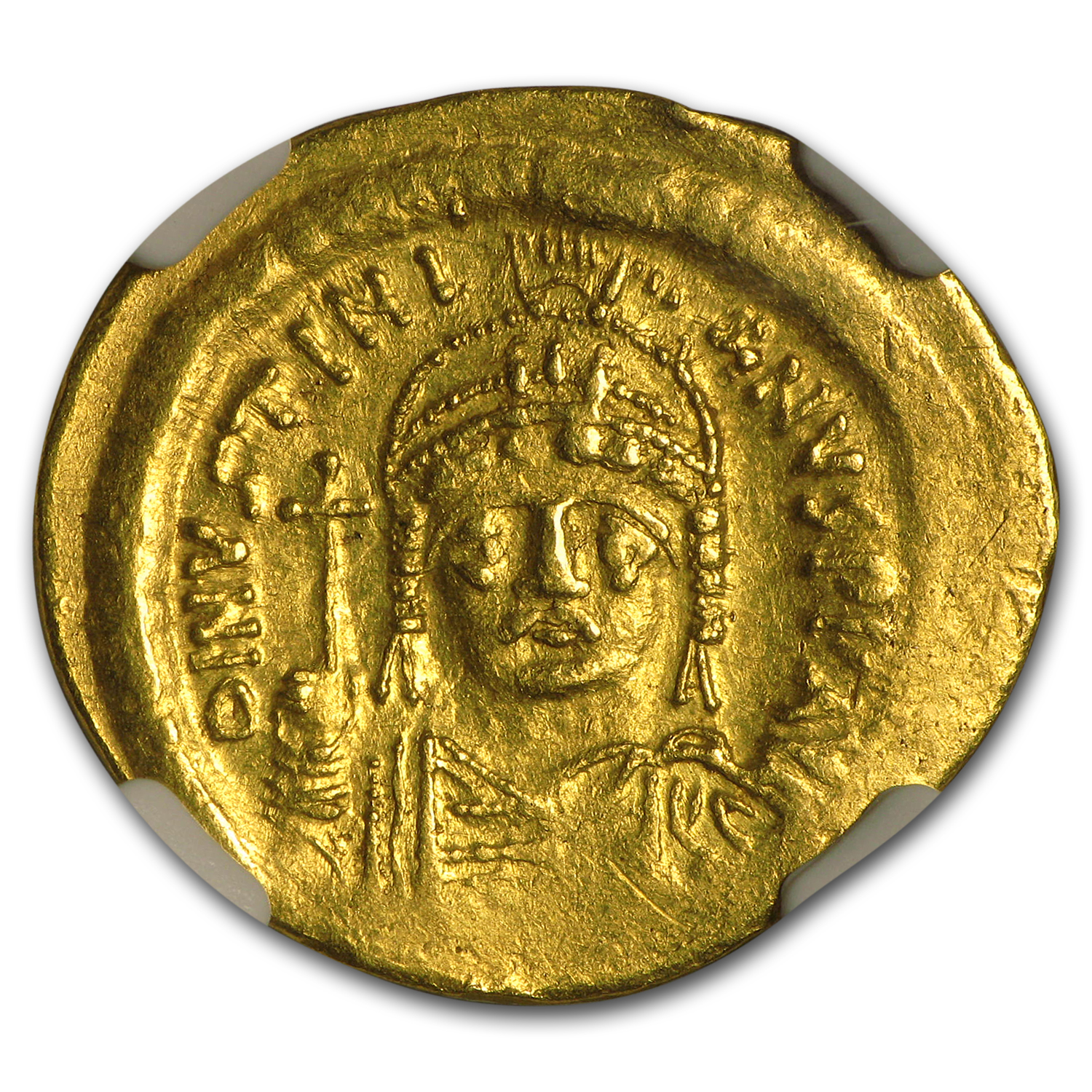 Byzantine Gold Solidus Emperor Justinian I (527-565 AD) AU NGC