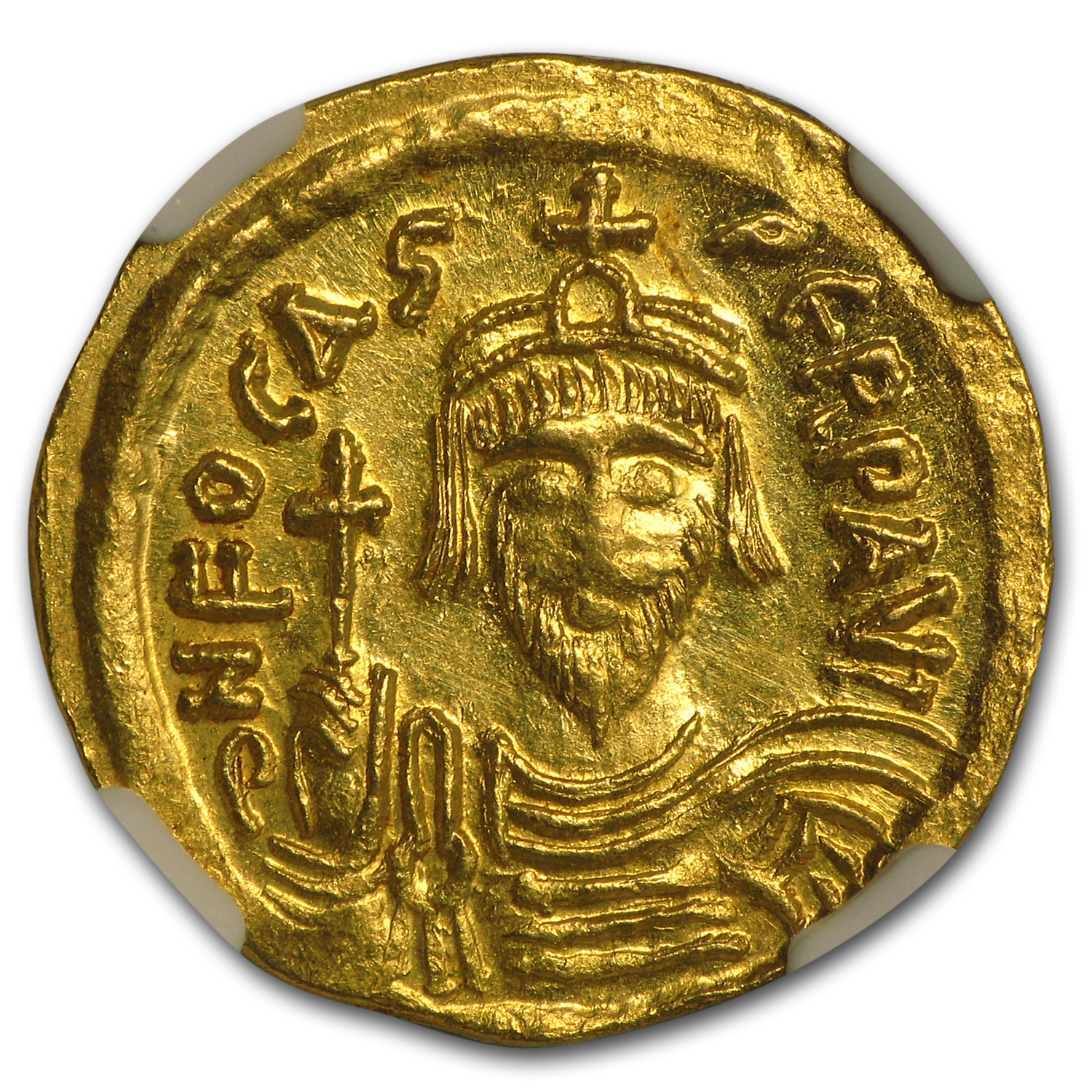 Byzantine Gold Solidus Emperor Phocas (602-610 AD) MS NGC