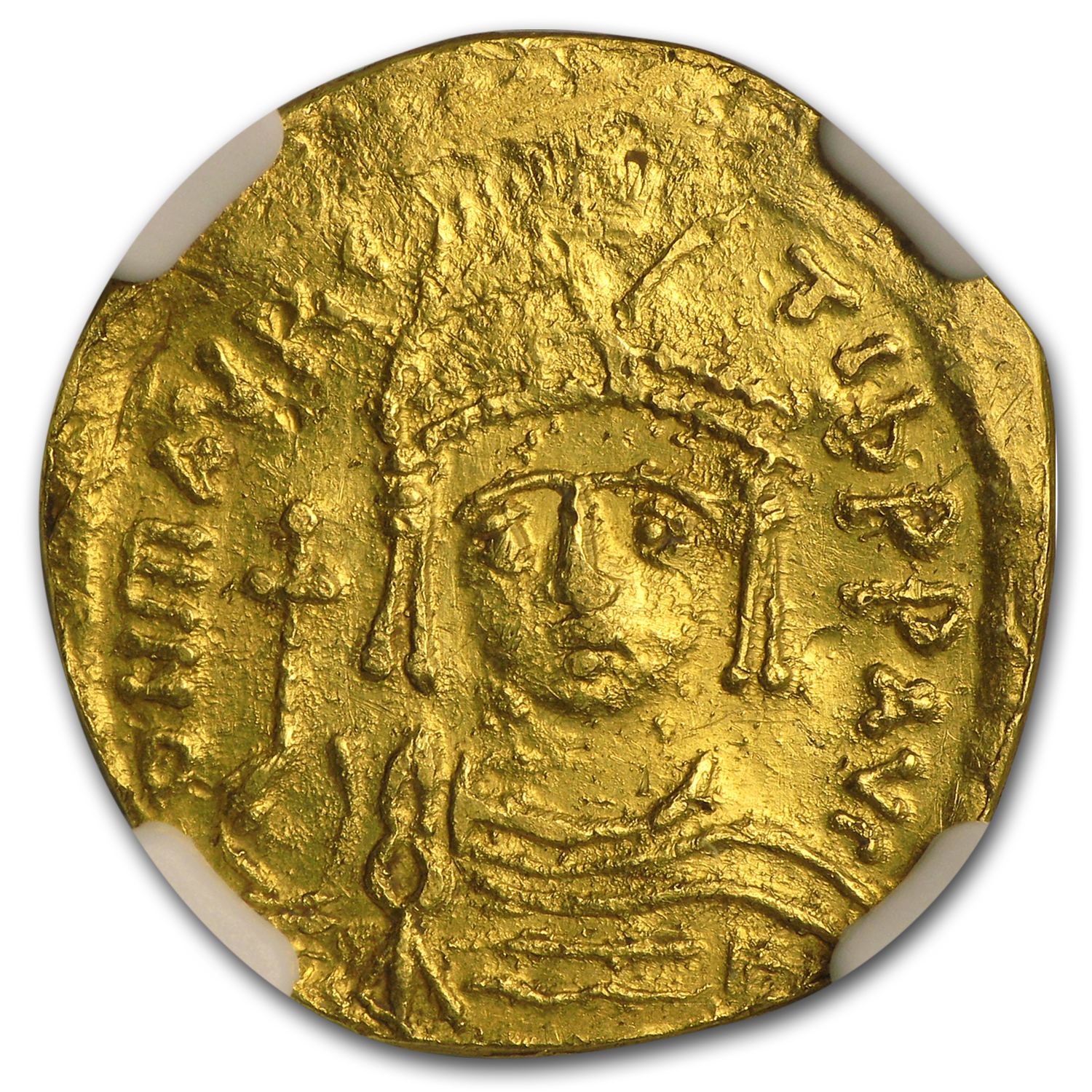 Byzantine Gold Solidus Maurice Tiberius (582-602 AD) AU NGC