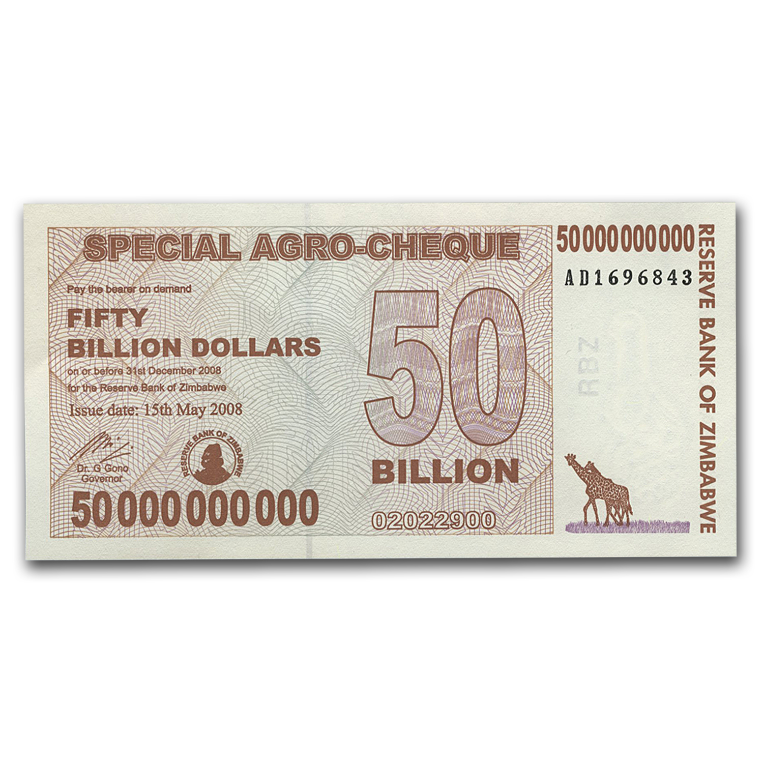 2008 Zimbabwe 50 Billion Dollars Giraffe Grain Elevators Unc