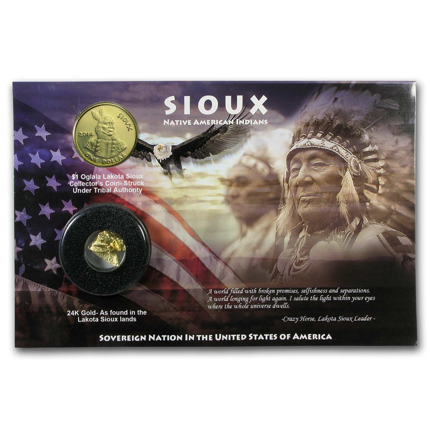 2014 Sioux Dollar w/24-karat Gold Foil (Blister Pack)