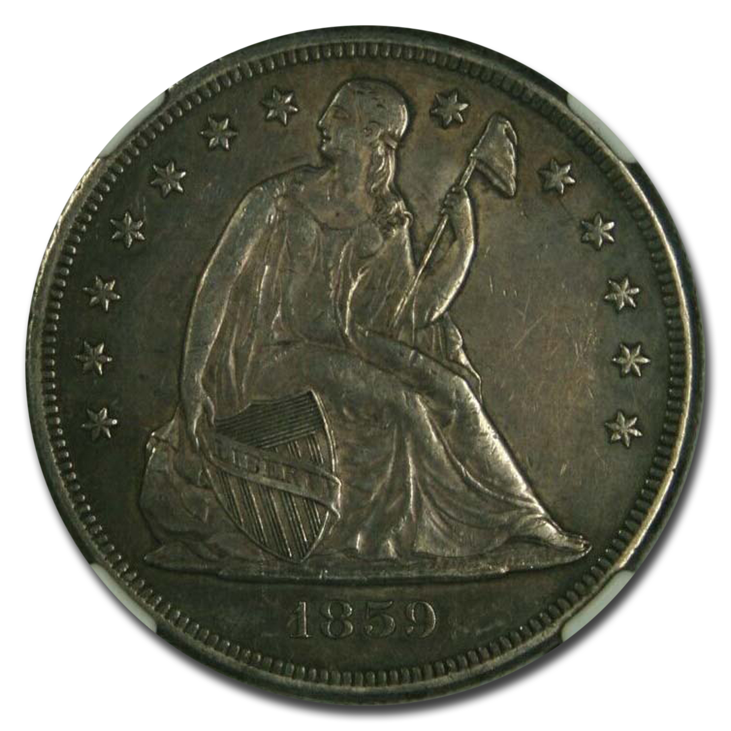 1859-O Liberty Seated Dollar AU-50 NGC