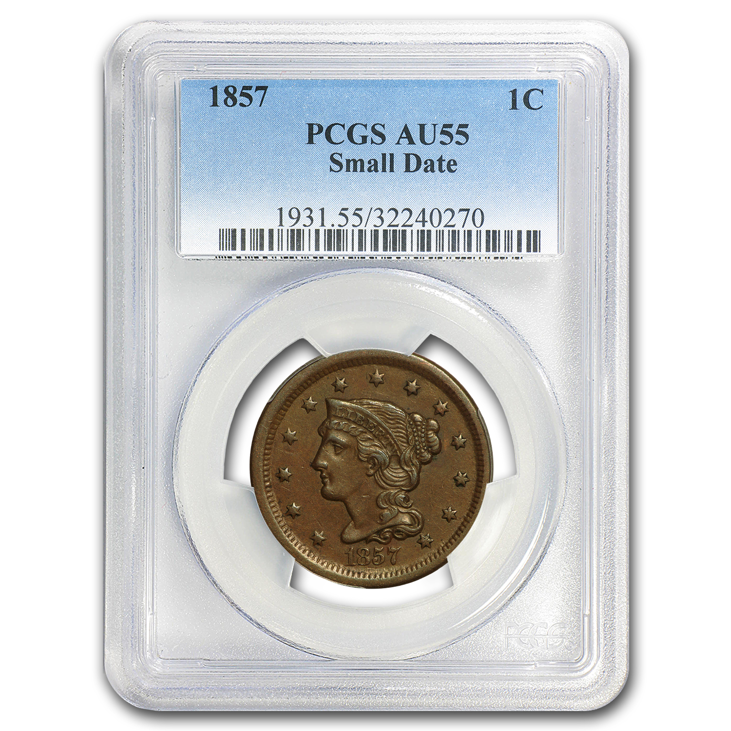 1857 Small Date Large Cent AU-55 PCGS