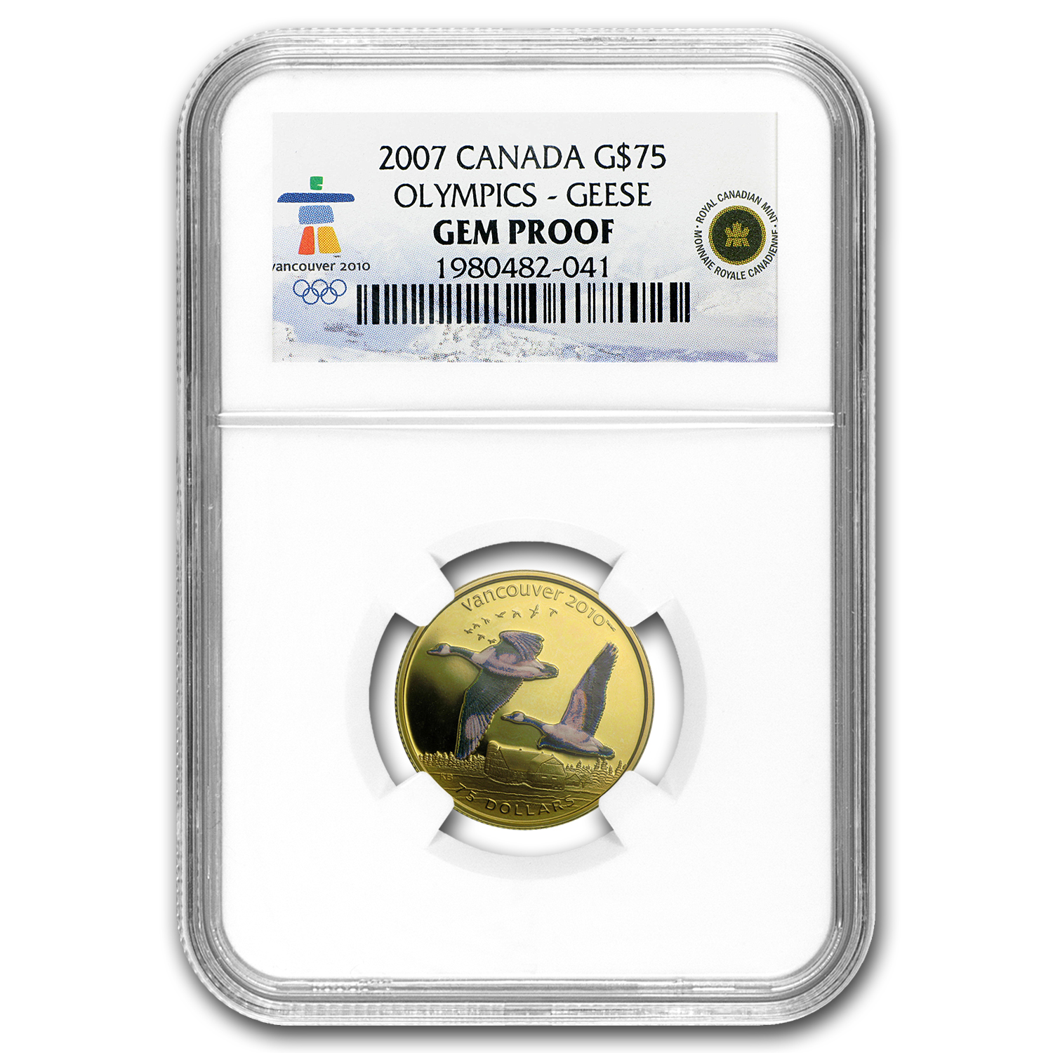 2007 Canada Gold $75 Olympics Canada Geese Gem Proof NGC
