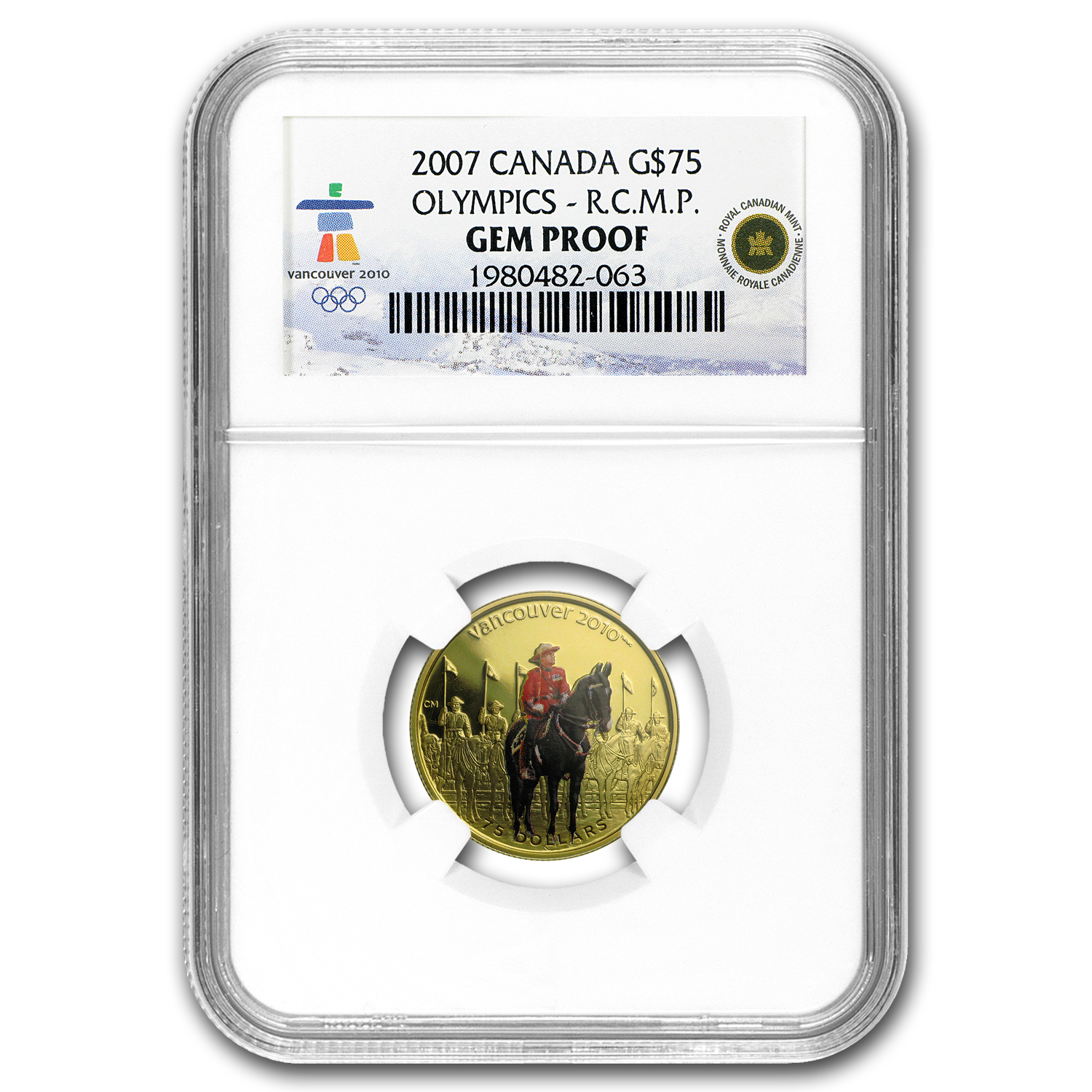 2007 Canada Gold $75 Olympics RC Mounted Police Gem Proof NGC