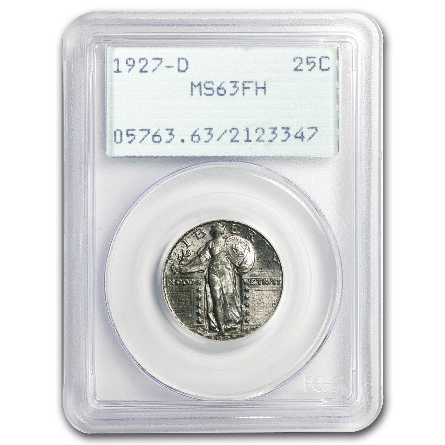 1927-D Standing Liberty Quarter MS-63 PCGS (Full Head, Rattler)