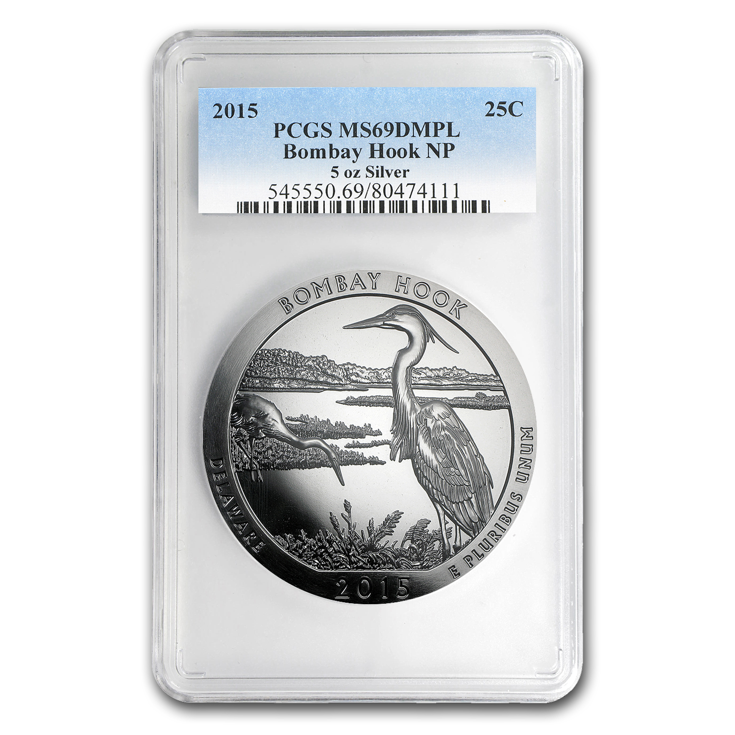 2015 5 oz Silver ATB Bombay Hook MS-69 DMPL PCGS