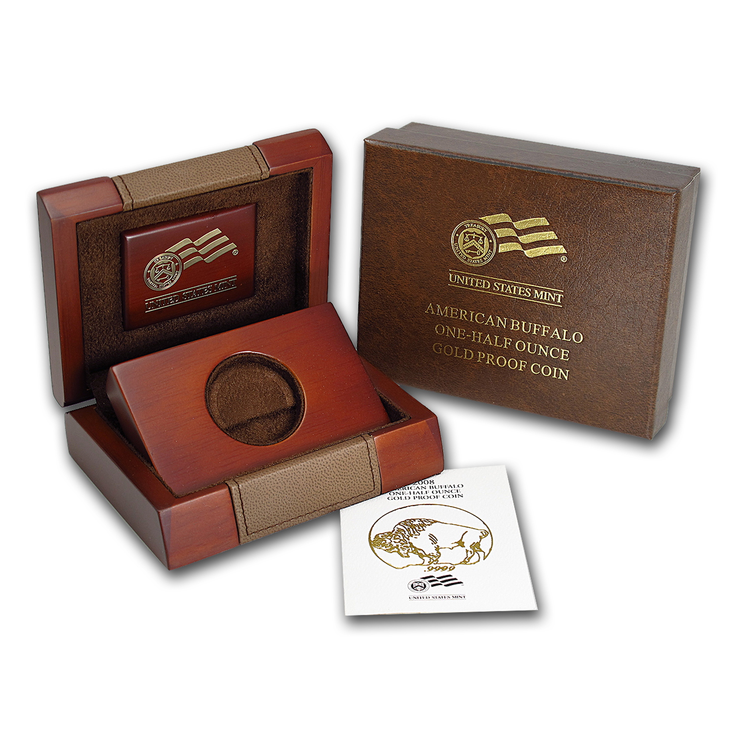 OEM Box & COA - 2008-W Proof 1/2 oz Gold Buffalo