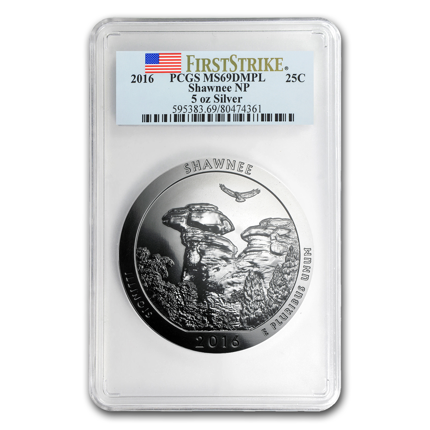 2016 5 oz Silver ATB Shawnee MS-69 DMPL PCGS (First Strike)