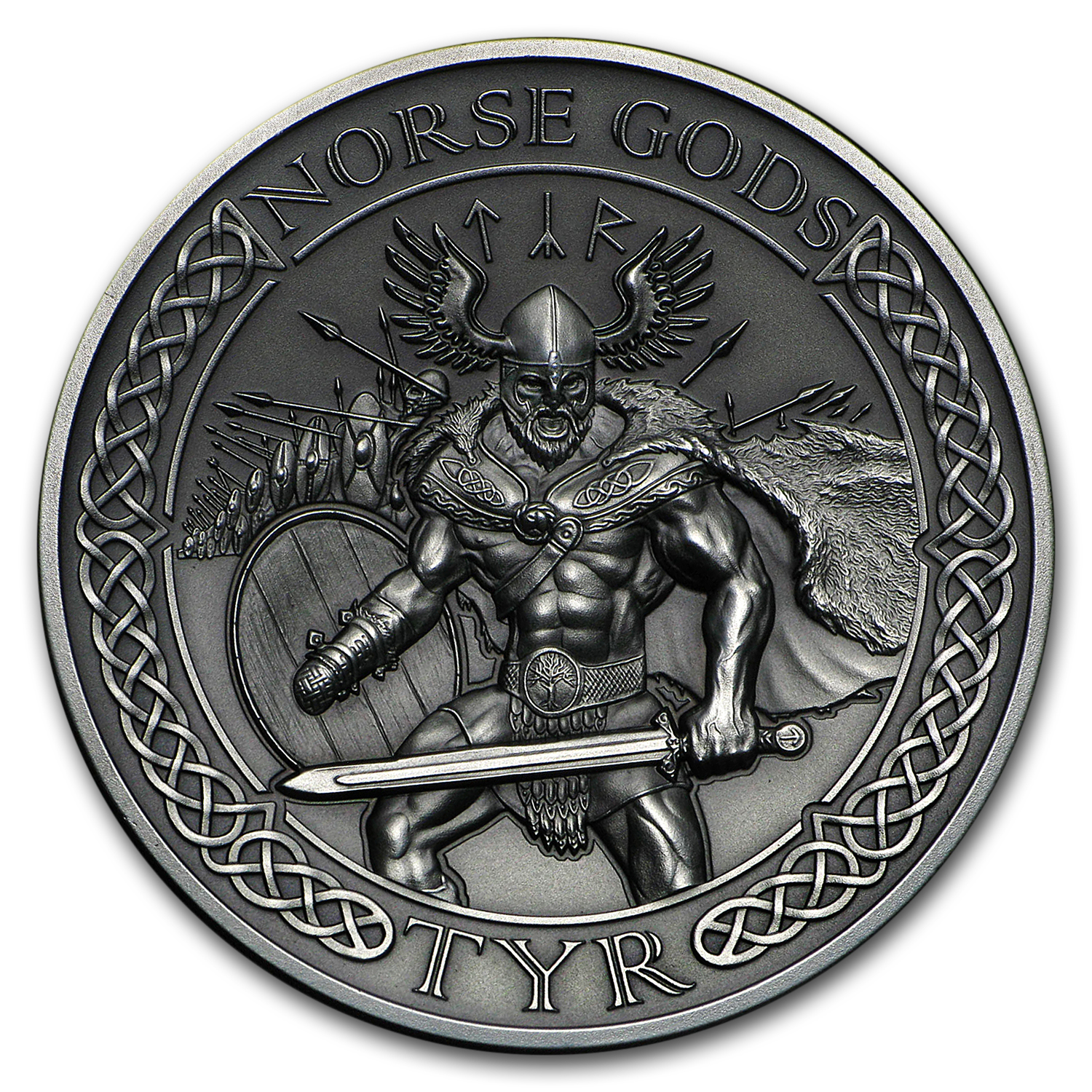 2015 Cook Islands 2 oz Silver High Relief Norse Gods: Tyr