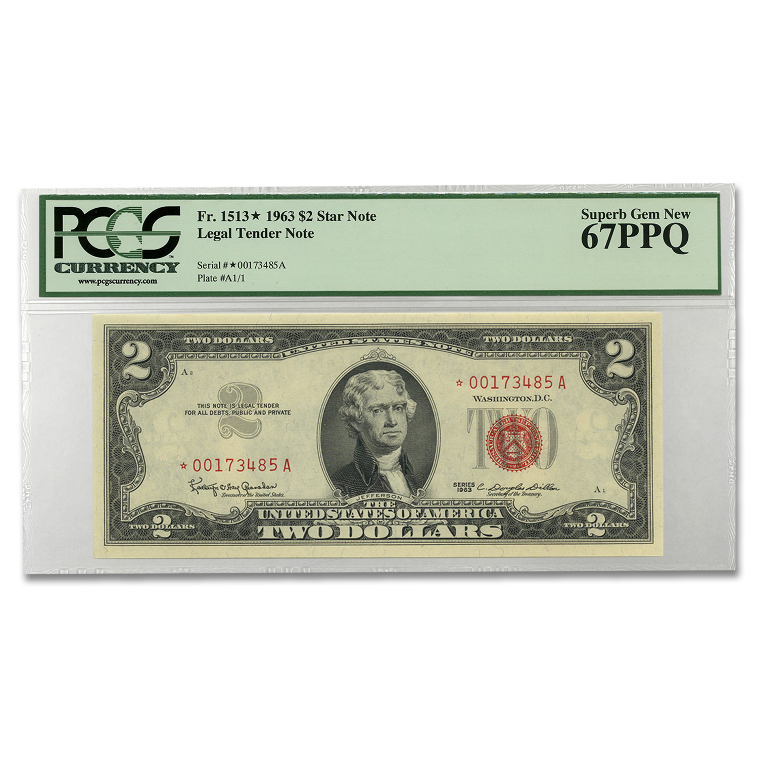 1963 $2.00 U.S. Notes Red Seal CU-67 PPQ PCGS (Star Note)