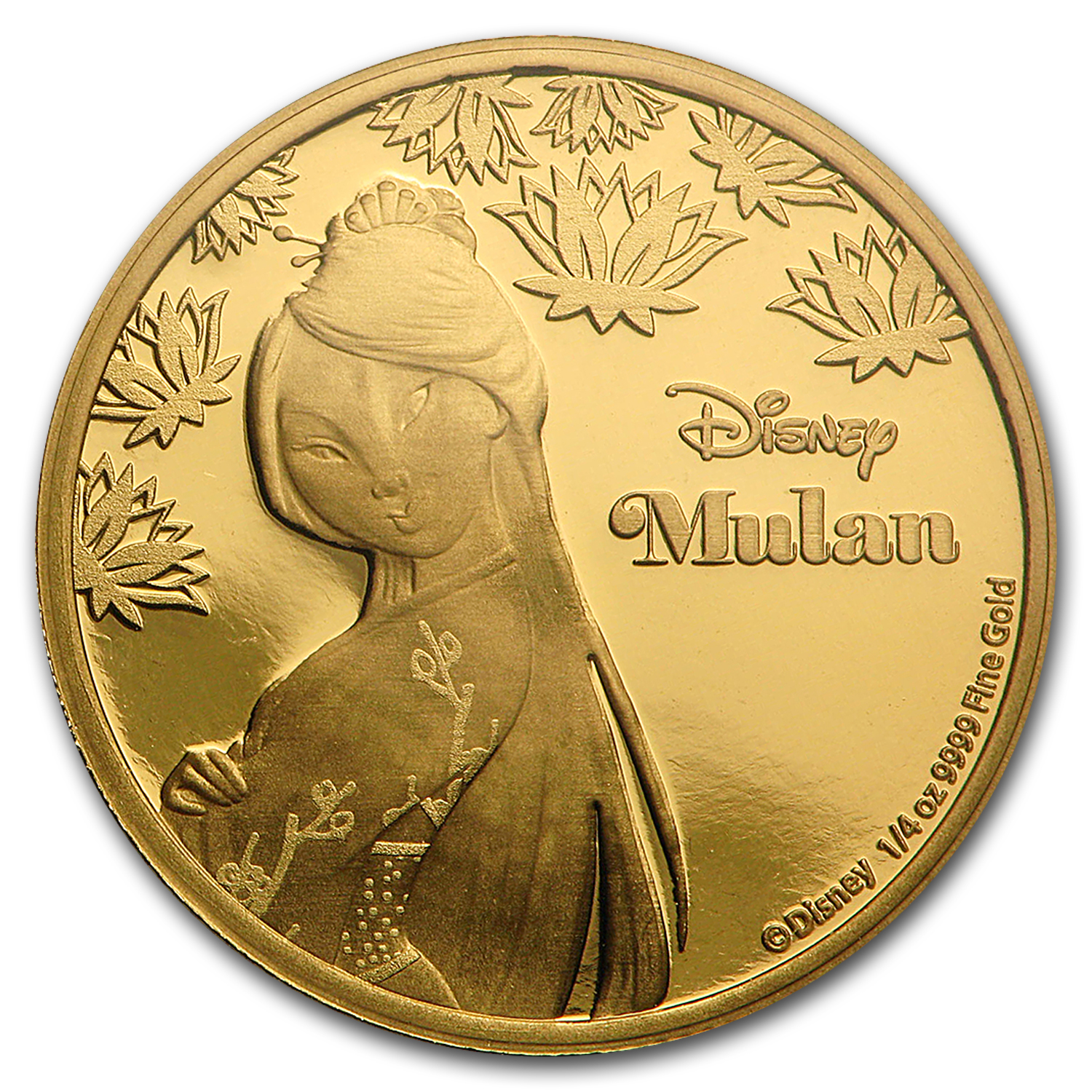 2016 Niue 1/4 oz Proof Gold $25 Disney Princess Mulan