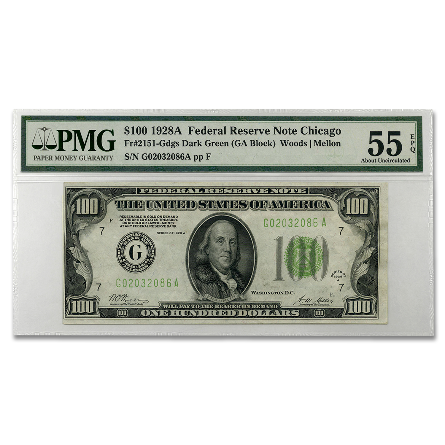 1928-A (G-Chicago) $100 FRN AU-55 EPQ PMG (Dark Green)