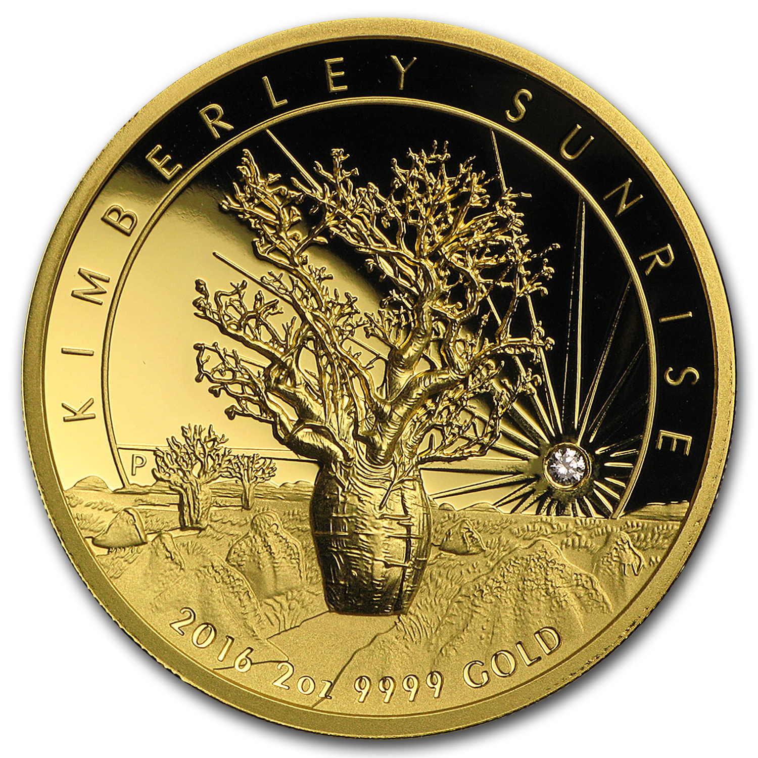 2016 Australia 2 oz Gold Proof Kimberley Sunrise w/Diamond