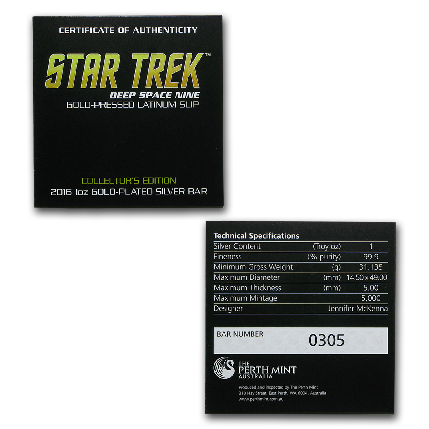 2016 Australia 1 oz Silver Bar Star Trek Latinum Slip
