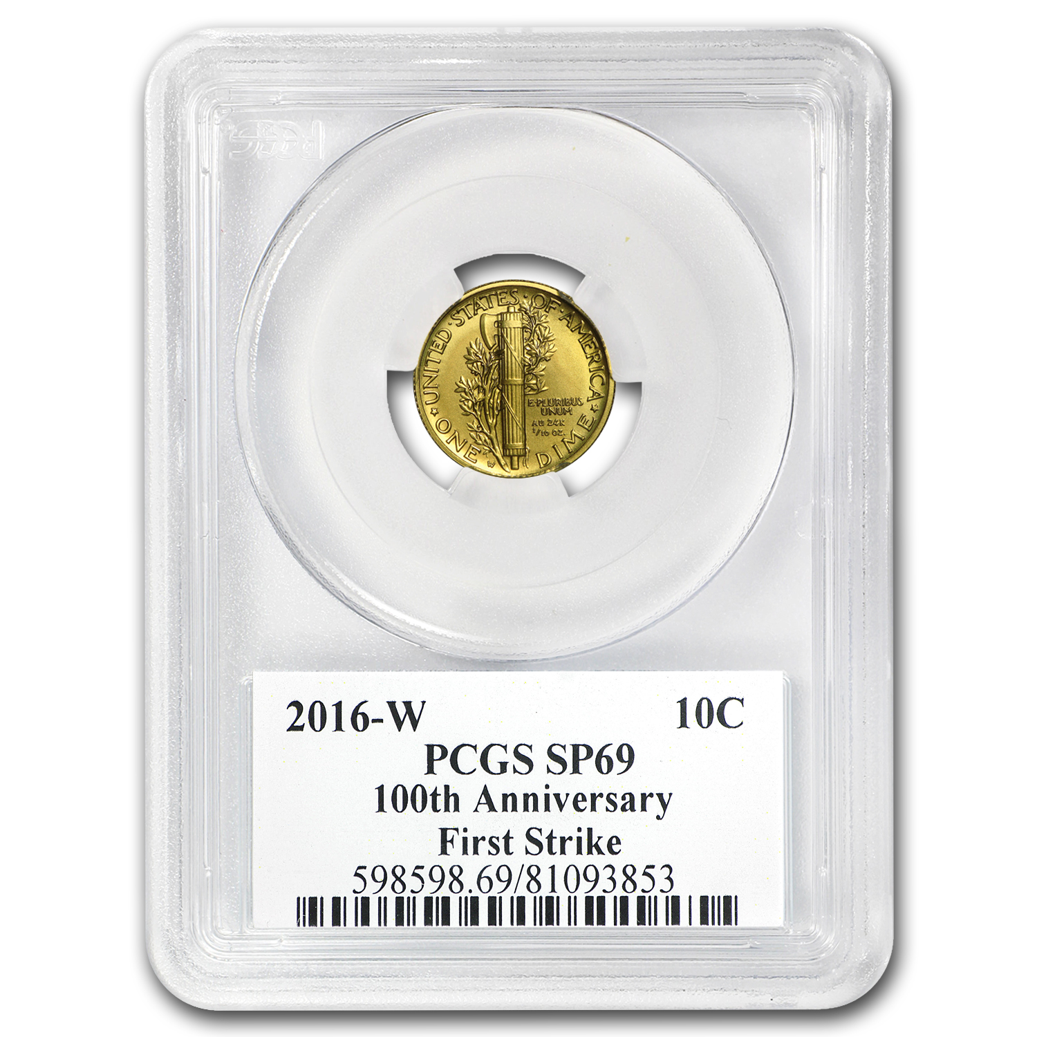 2016-W 1/10 oz Gold Mercury Dime SP-69 PCGS (FS)
