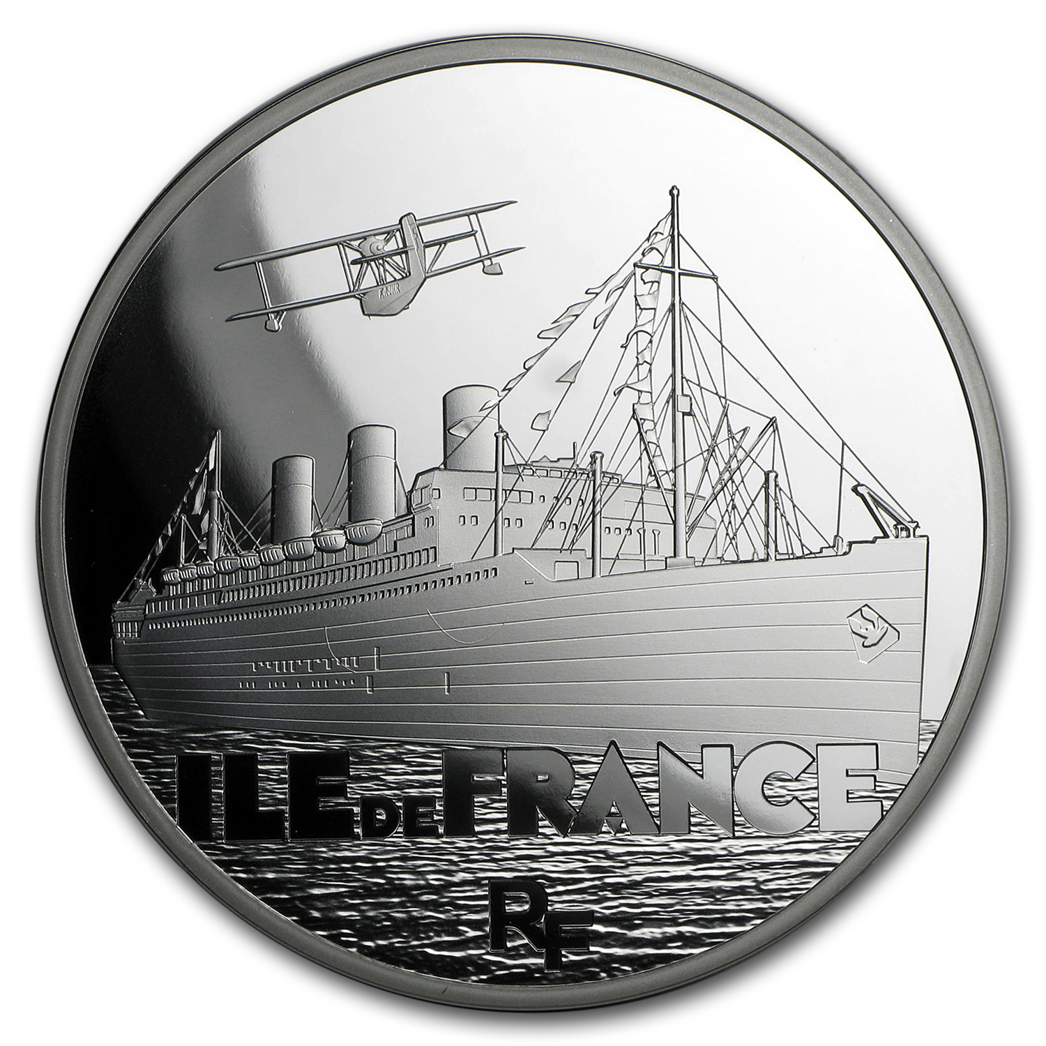 2016 5 oz Silver €50 Great French Ships Proof (The Ile de France)