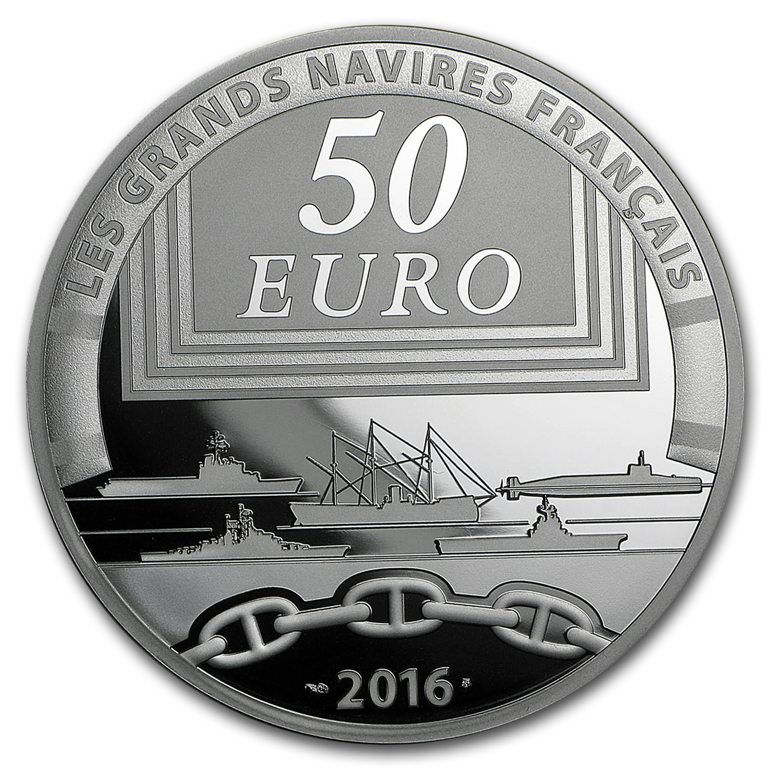 2016 5 oz Silver €50 Great French Ships Prf (Charles de Galle)