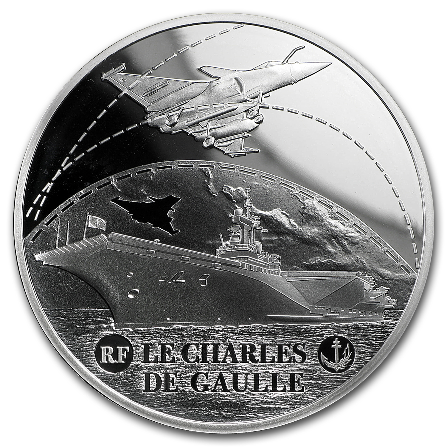 2016 Silver €10 Great French Ships Proof (Charles de Gaulle)