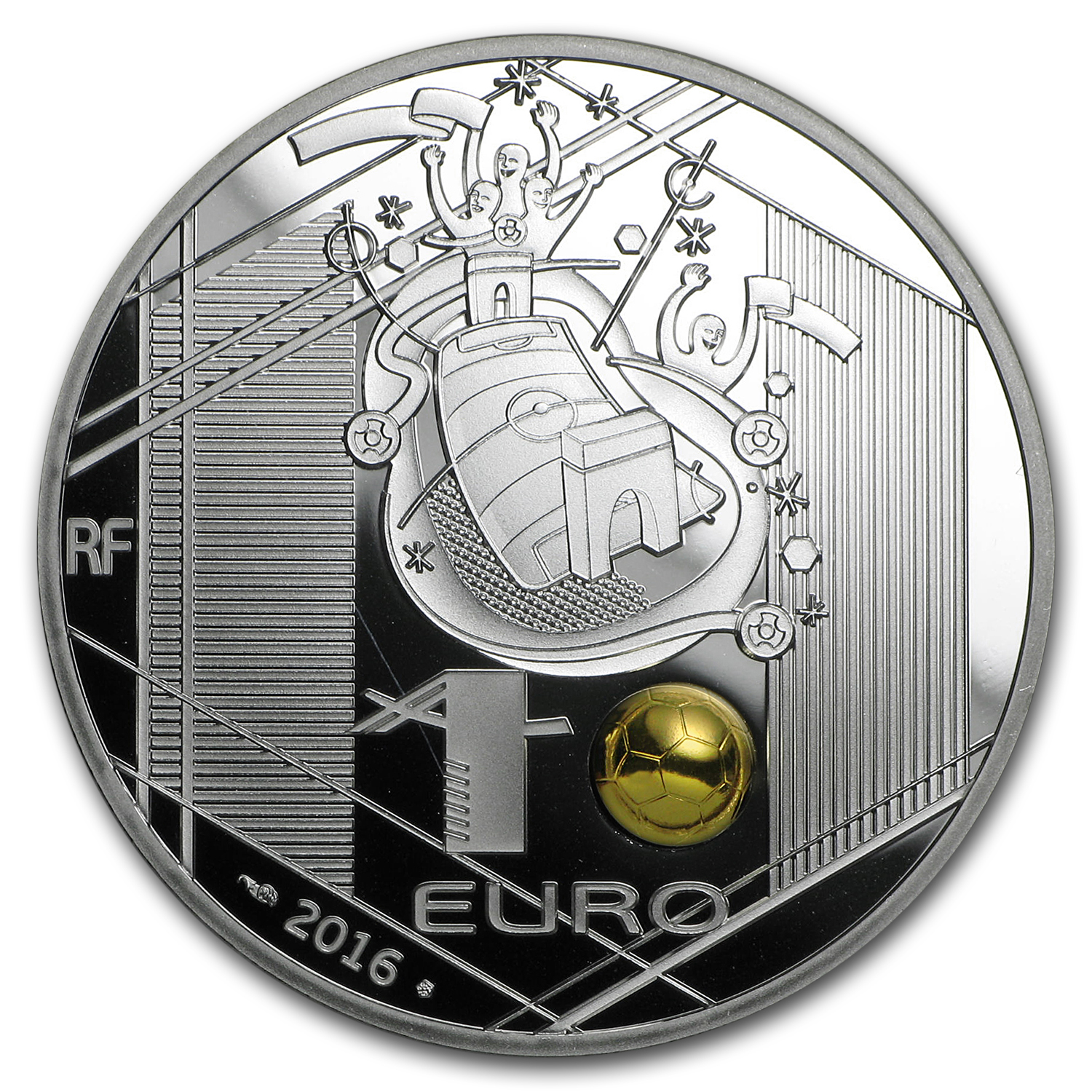 2016 France Silver €10 UEFA Cup Proof (Head Kick)