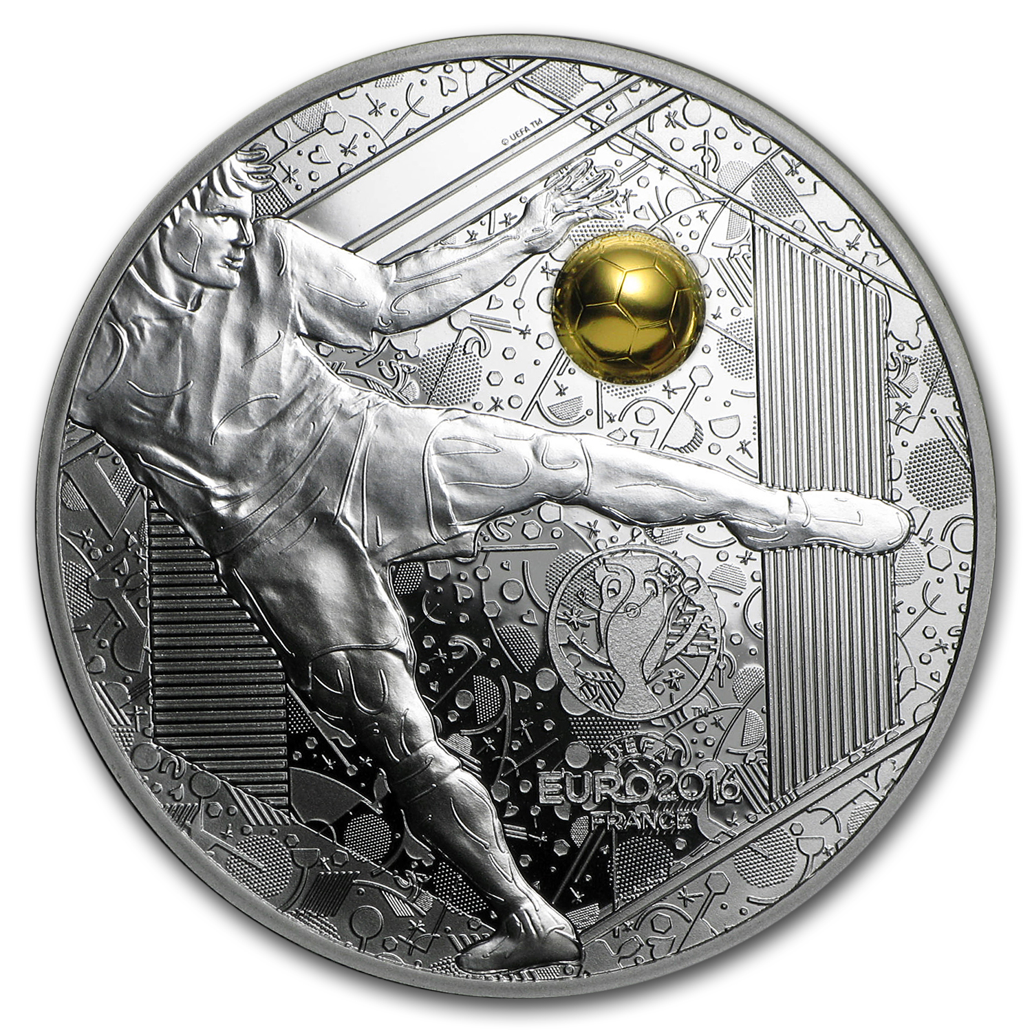 2016 Silver €10 UEFA Cup Proof (Volley Kick)