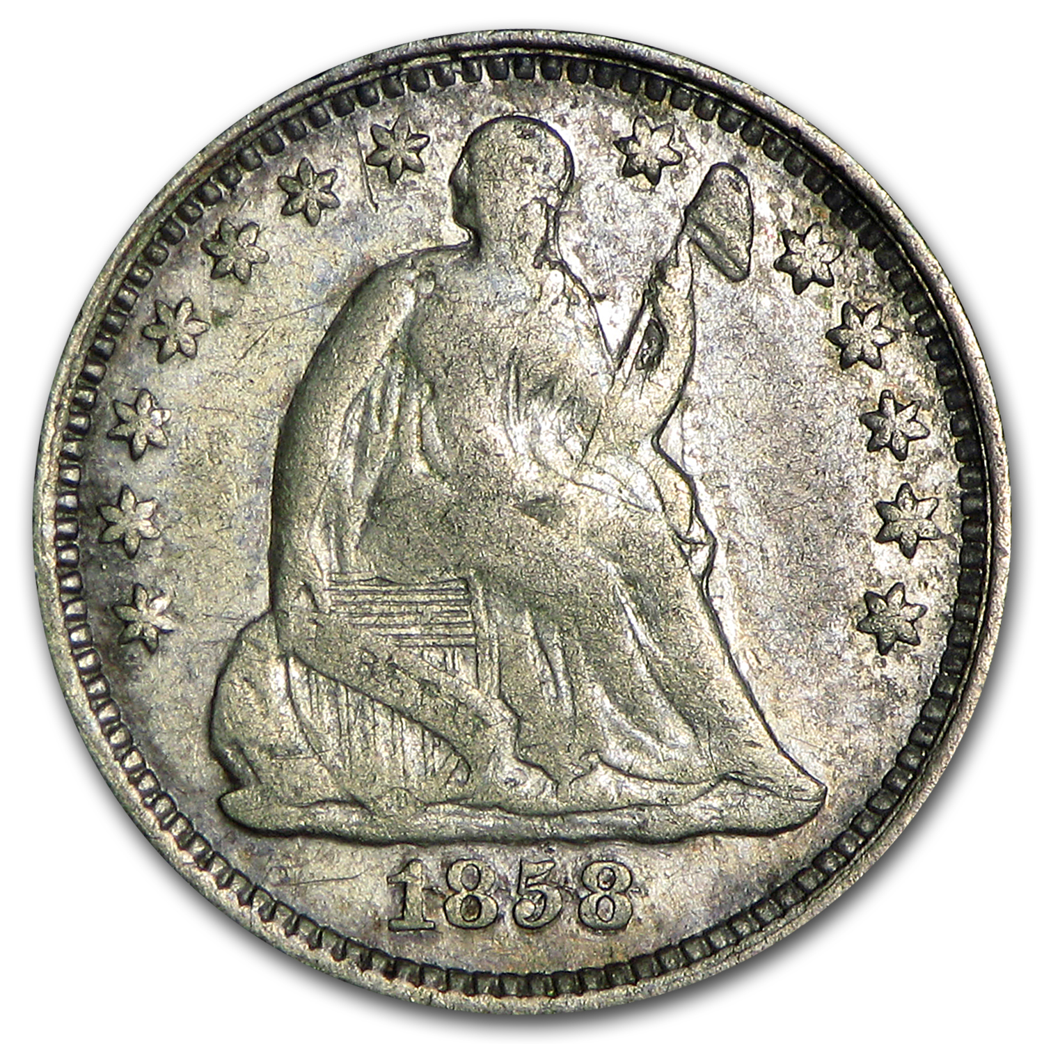 1858/Over Inverted Date Liberty Seated Half Dime VF