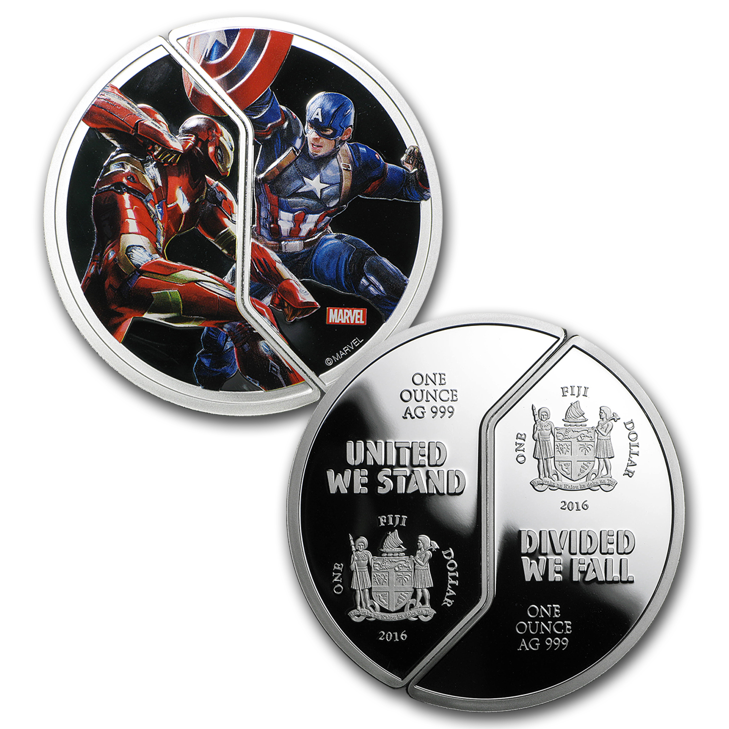"2016 Fiji 6-Coin Proof Silver ""Captain America: Civil War"" Set"