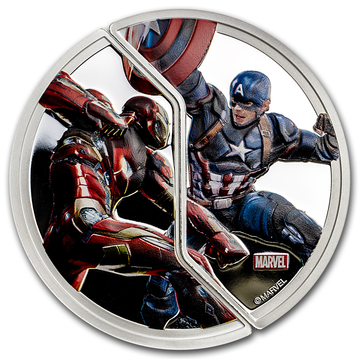 "2016 Fiji Proof Silver ""Captain America: Civil War"" Cap vs. Stark"