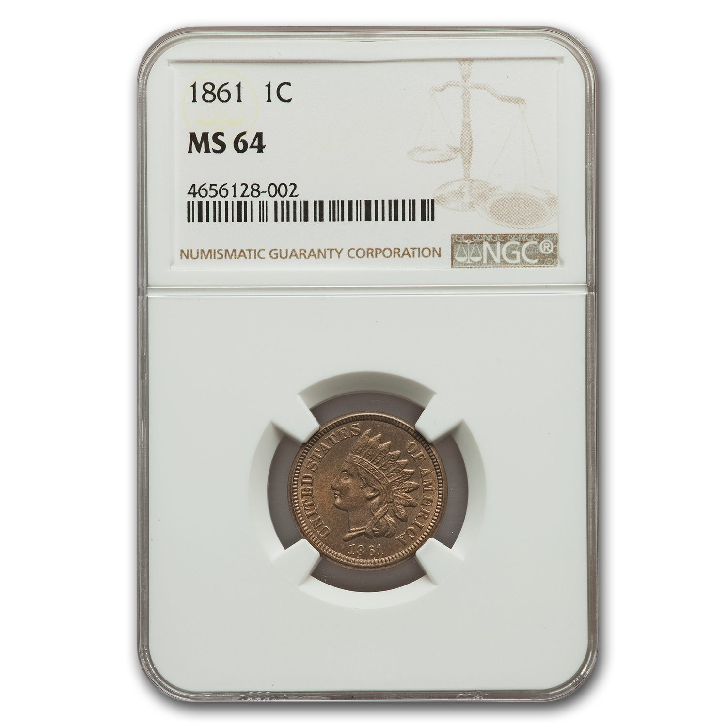 1861 Indian Head Cent MS-64 NGC