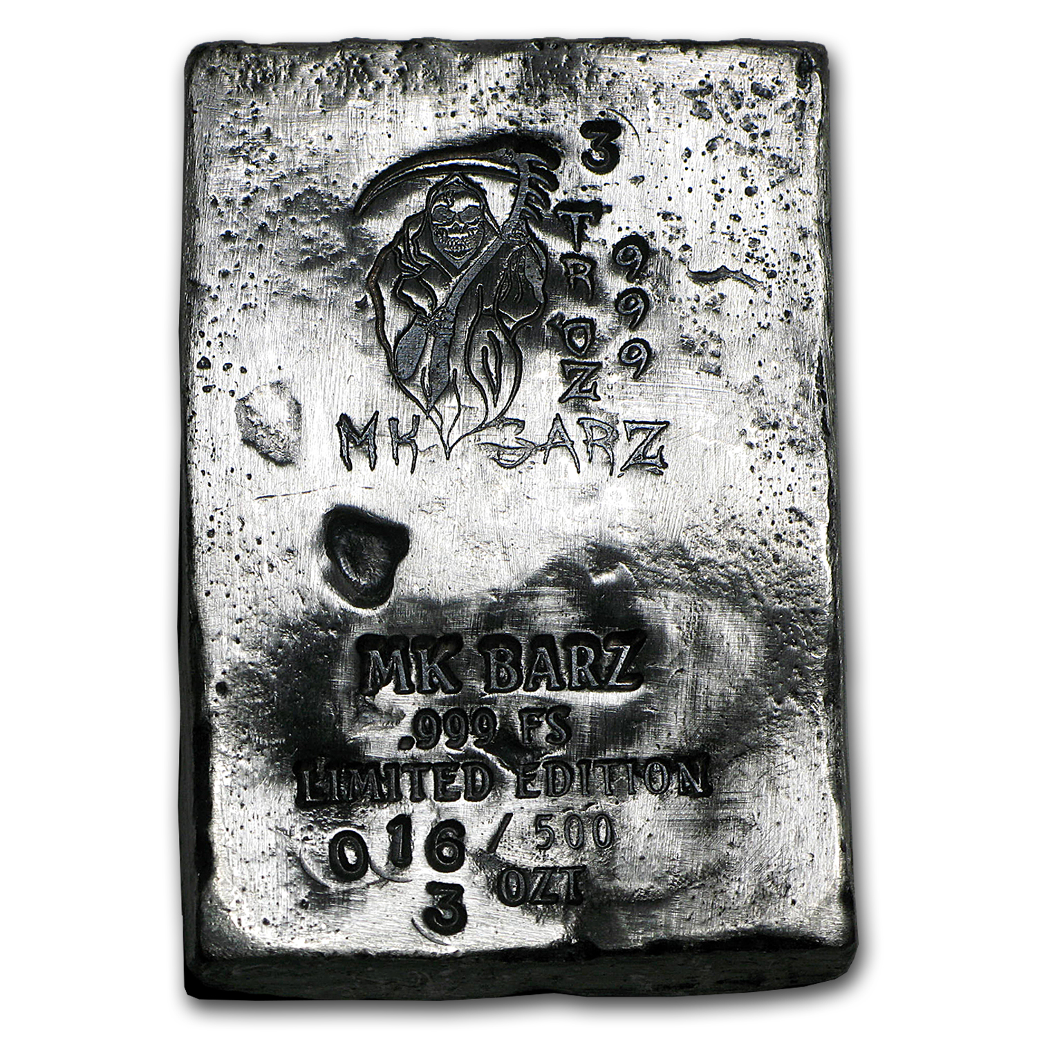 3 oz Silver Bar - Limited Edition (Grim Reaper, Death is Coming)