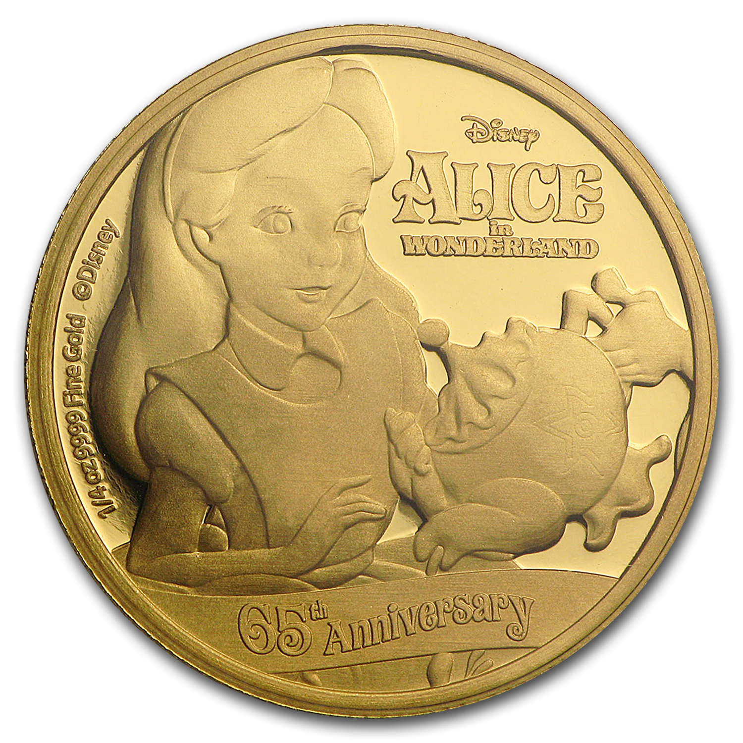 2016 Niue 1/4 oz Gold $25 Disney Anniv. of Alice in Wonderland