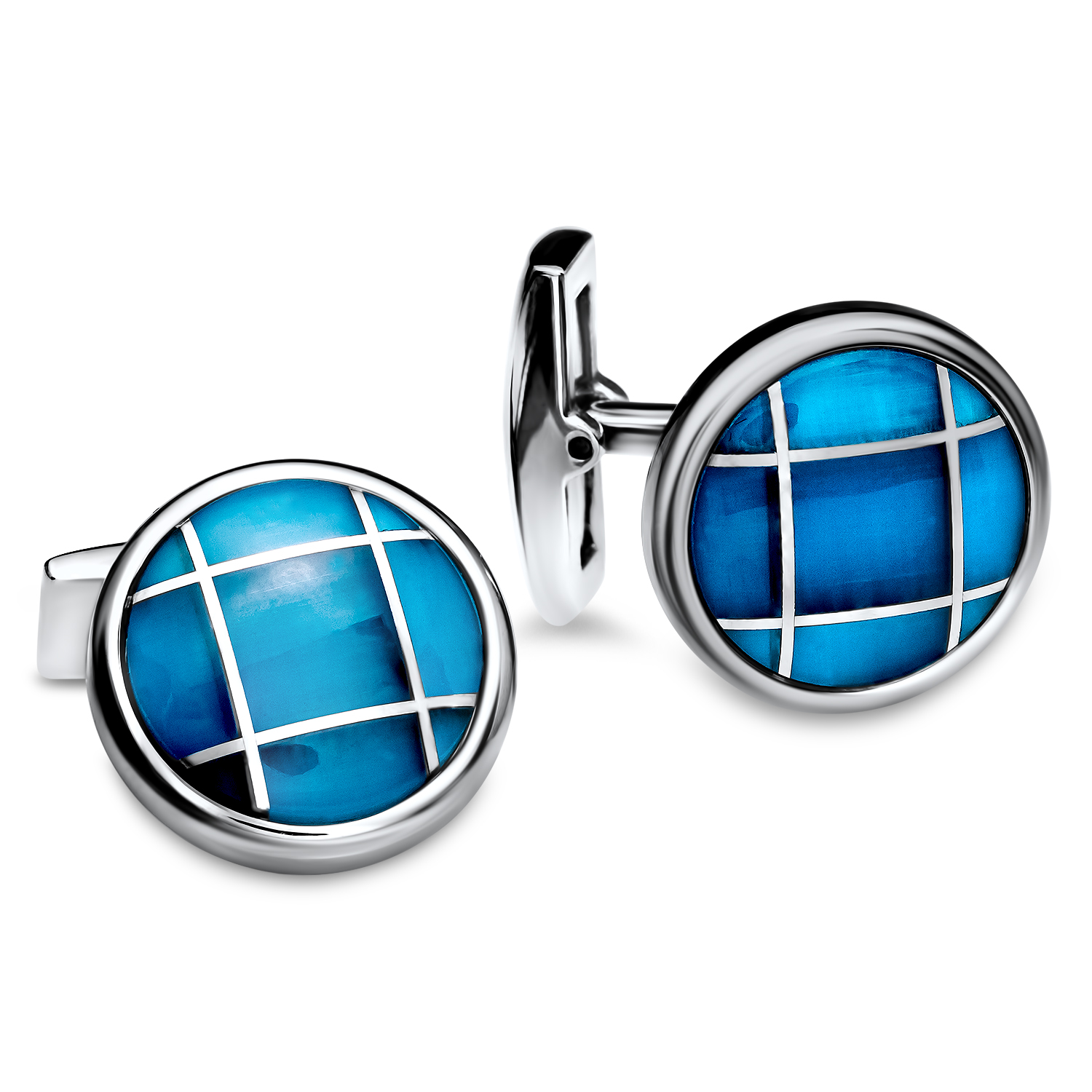 Stainless Steel & Glass Cuff Links