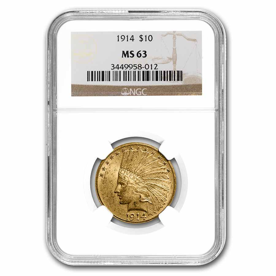 1914 $10 Indian Gold Eagle MS-63 NGC